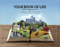 "An image of a book lying open on a table to show scenes from a life, combined with the words ""Your Book of Life."""