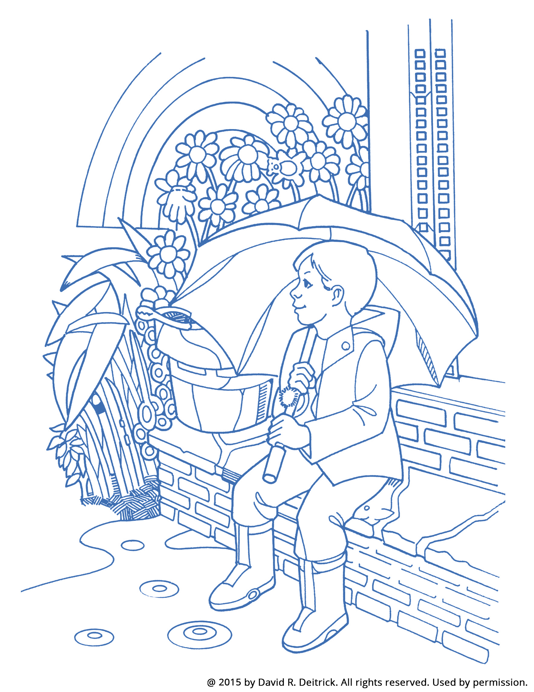 A drawing of a boy sitting outside, with hidden objects drawn into the image.