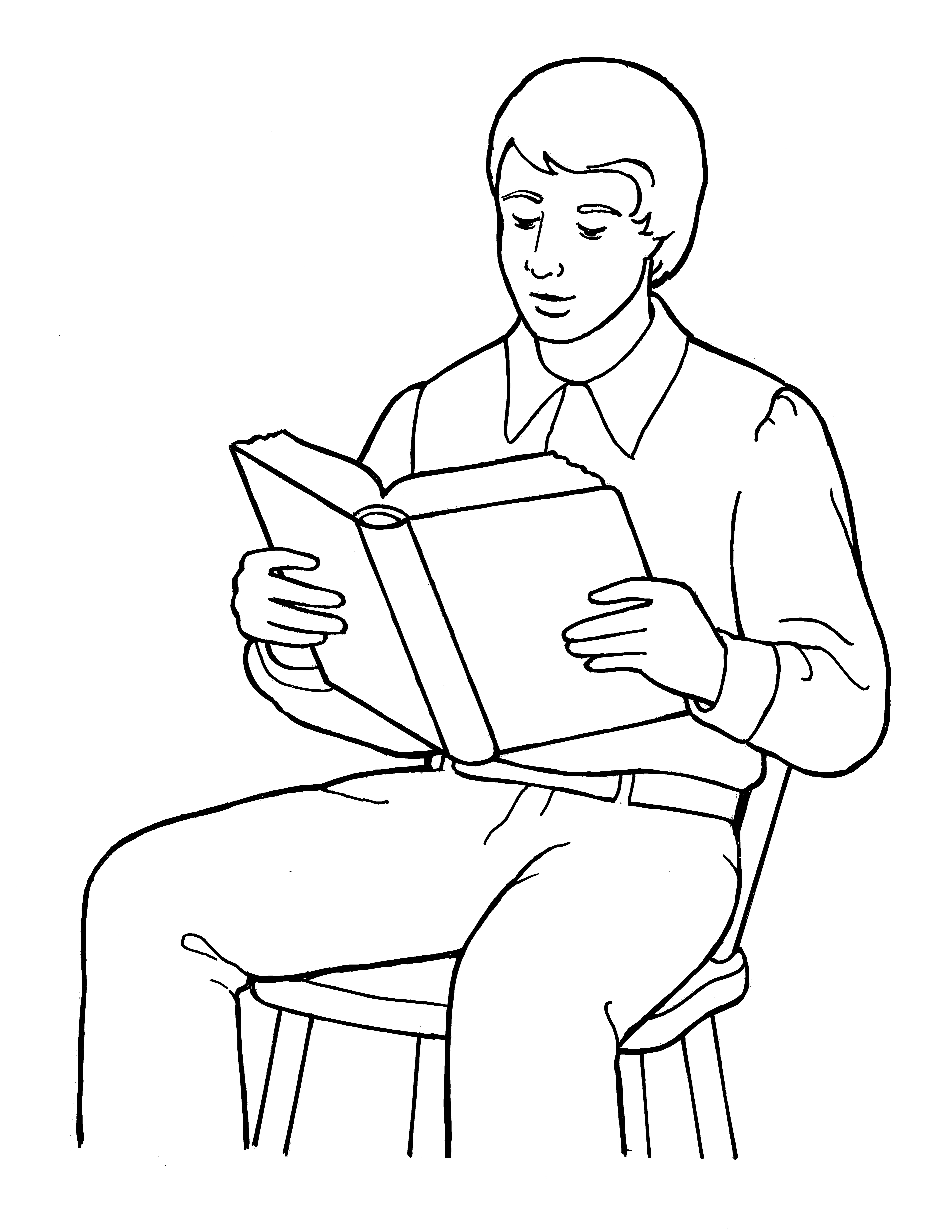 An illustration of a young Joseph Smith reading the scriptures, from the nursery manual Behold Your Little Ones (2008), page 103.