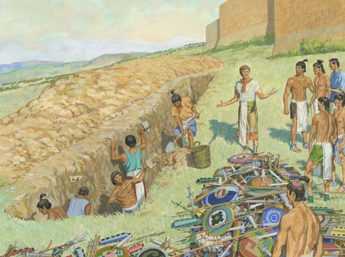 people burying weapons