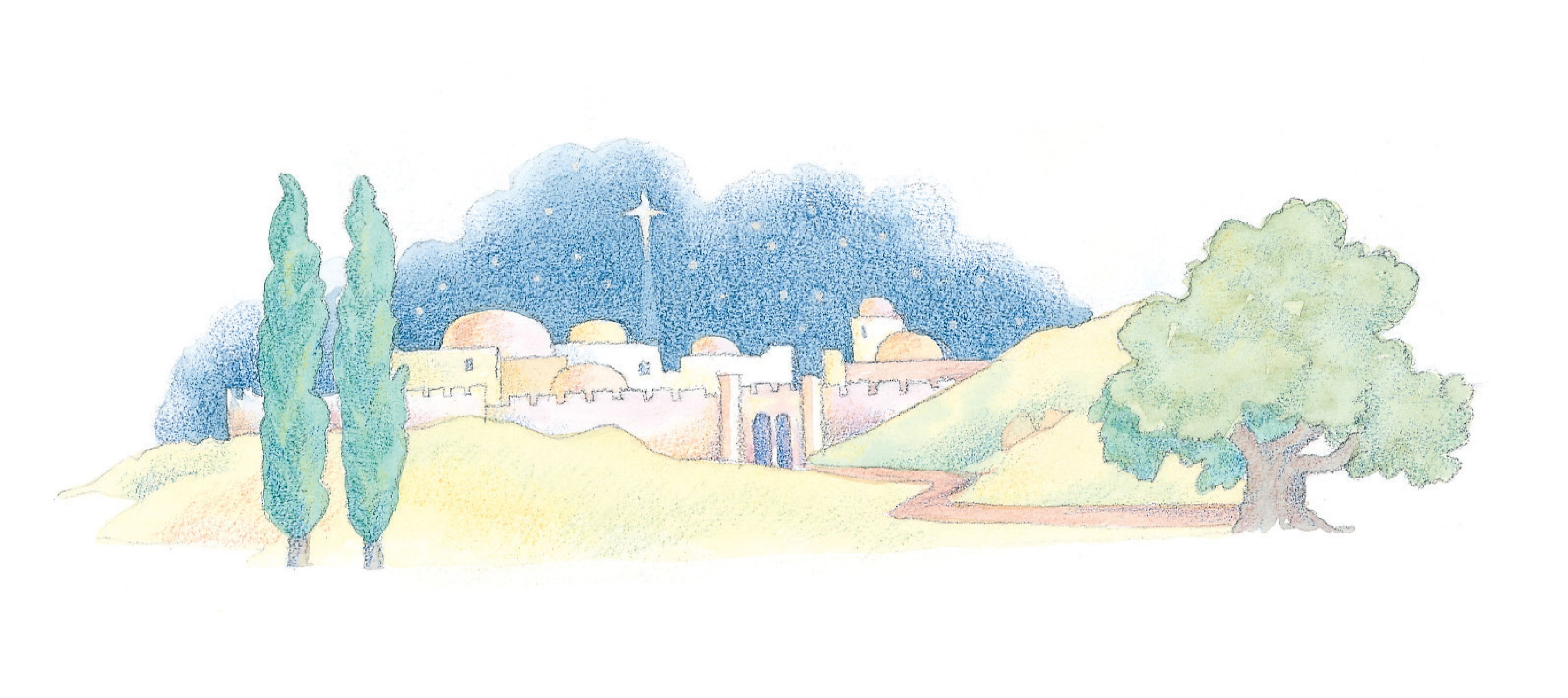 """Bethlehem at night. From the Children's Songbook, page 37, """"Stars Were Gleaming""""; watercolor illustration by Phyllis Luch."""