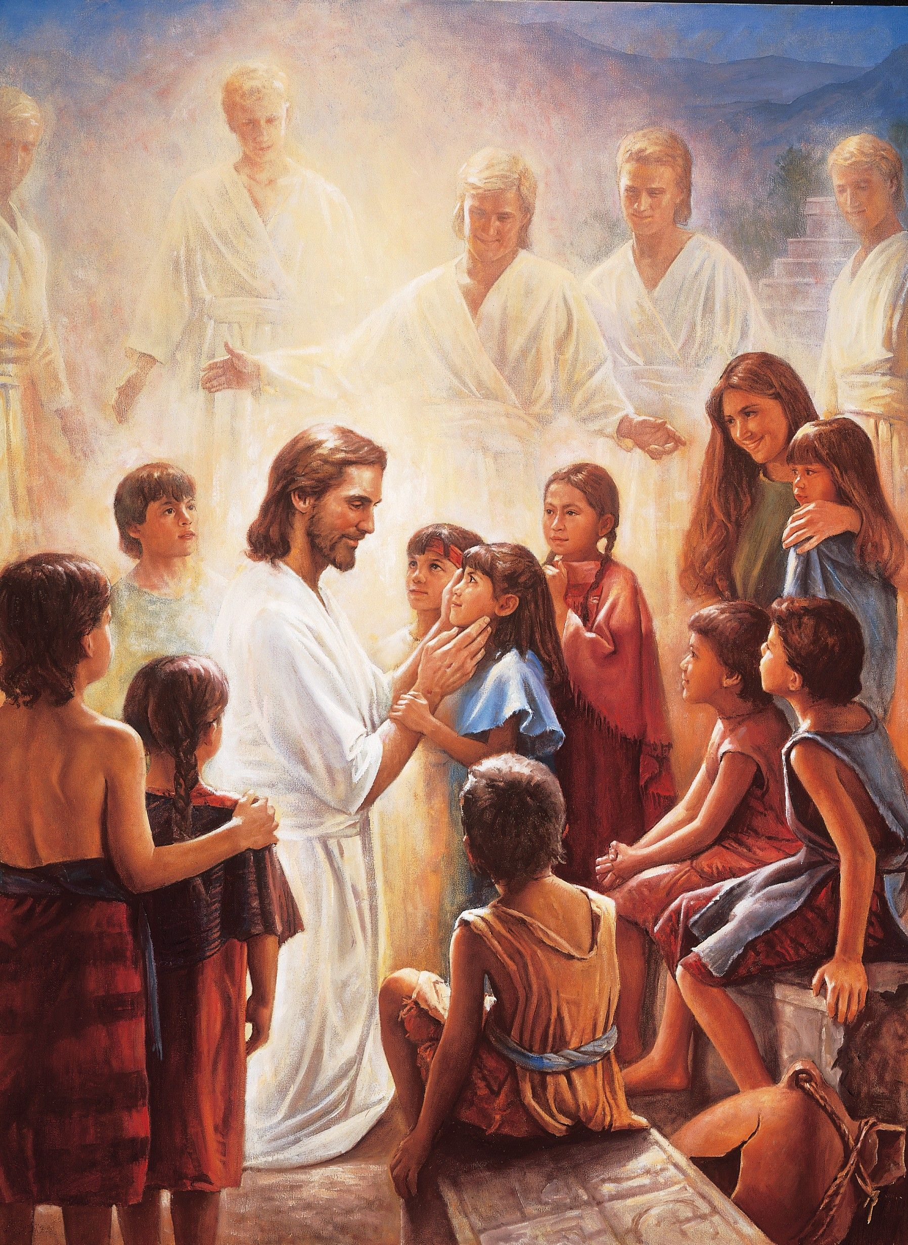 Christ and the Book of Mormon Children, by Del Parson; GAB 84; nursery manual Behold Your Little Ones (2008), lesson 4, page 22; 3 Nephi 17:11–25 This image is to be used for Church purposes only.