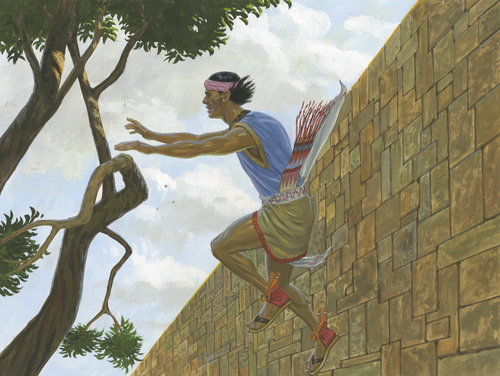Samuel jumping from wall