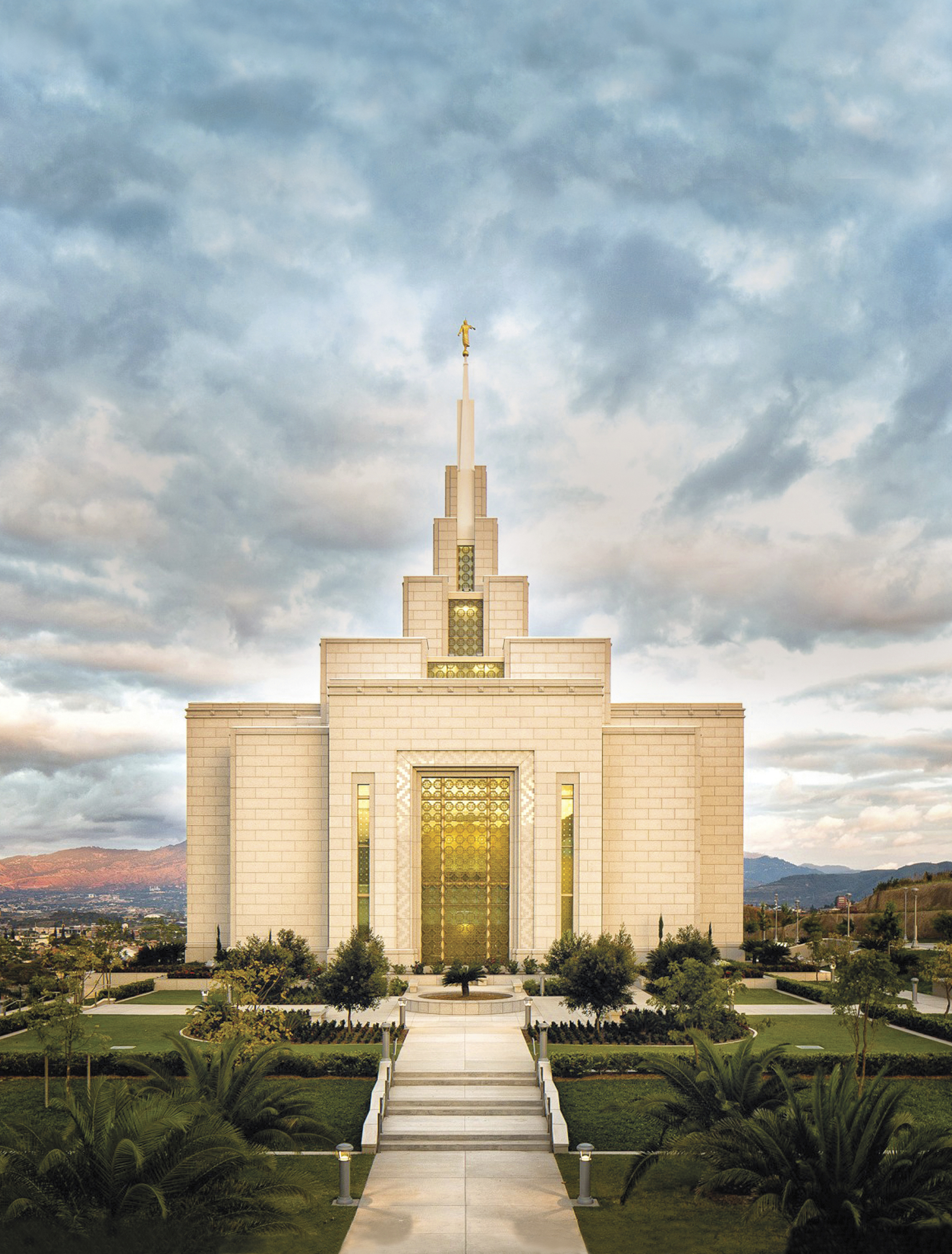 The Tegucigalpa Honduras Temple at sunset, including the entrance and scenery.