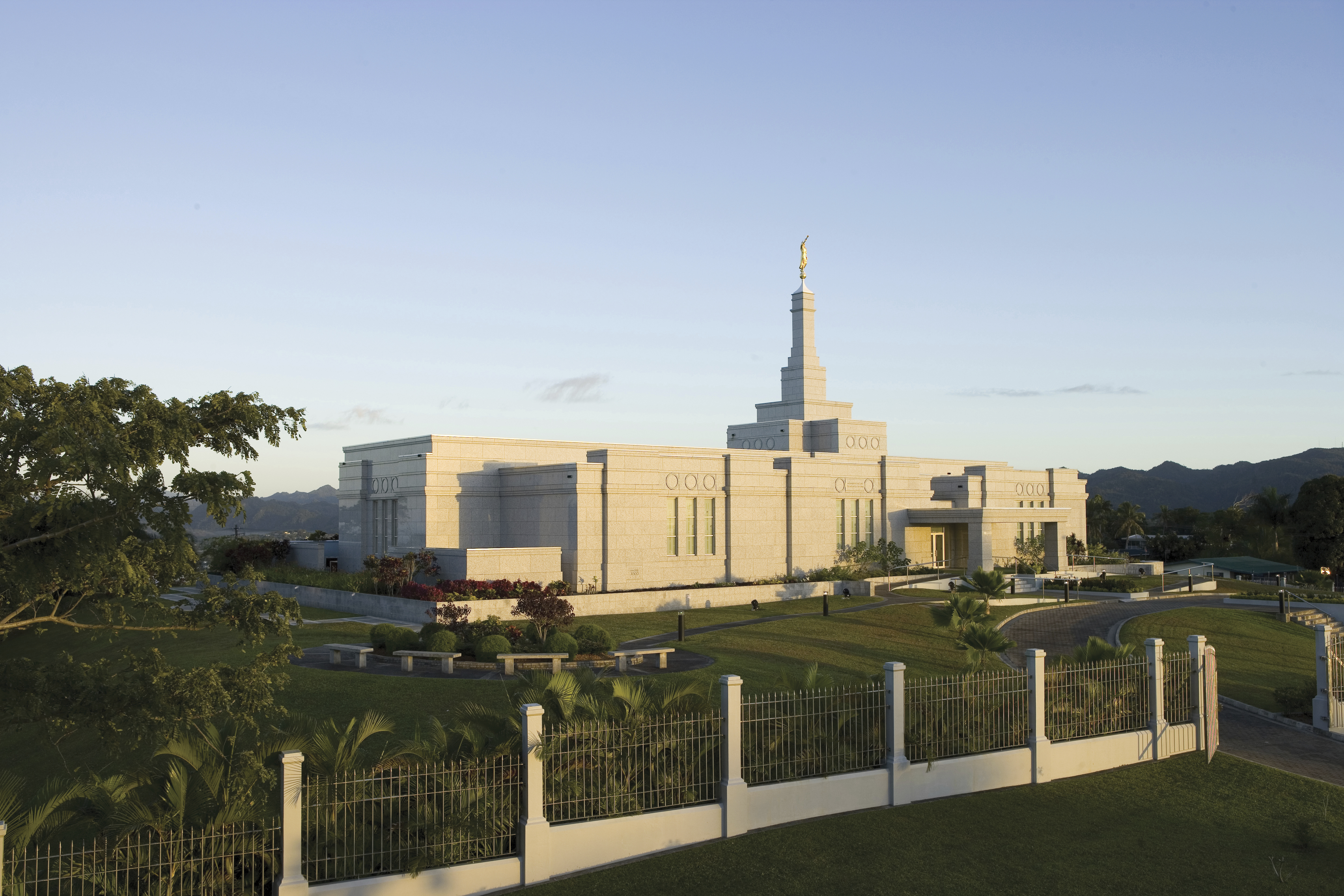 The Suva Fiji Temple in the late afternoon.