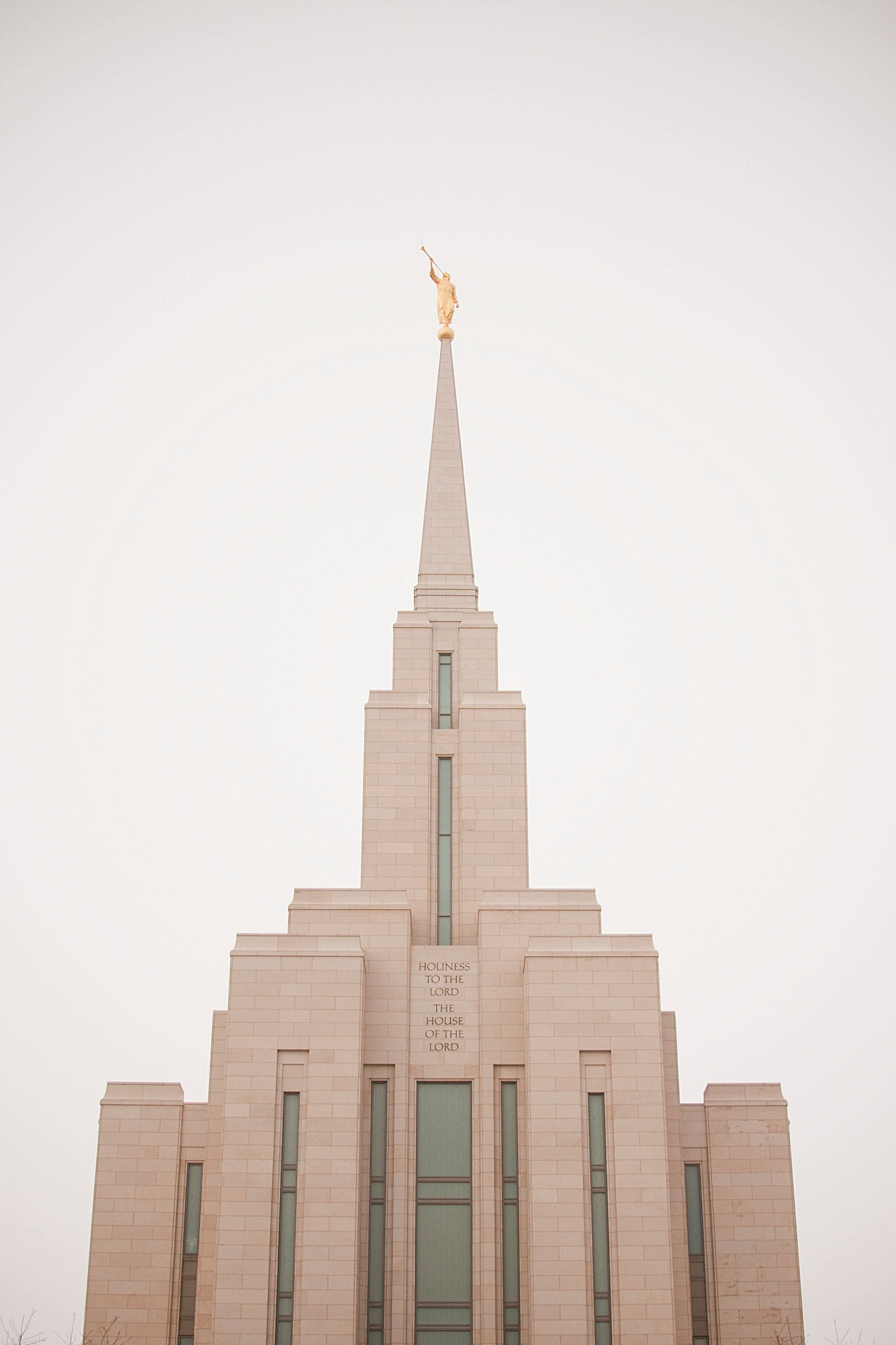 The Oquirrh Mountain Utah Temple spire, including the exterior of the temple.