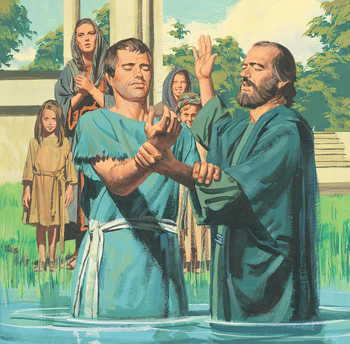 Apostle baptizing guard