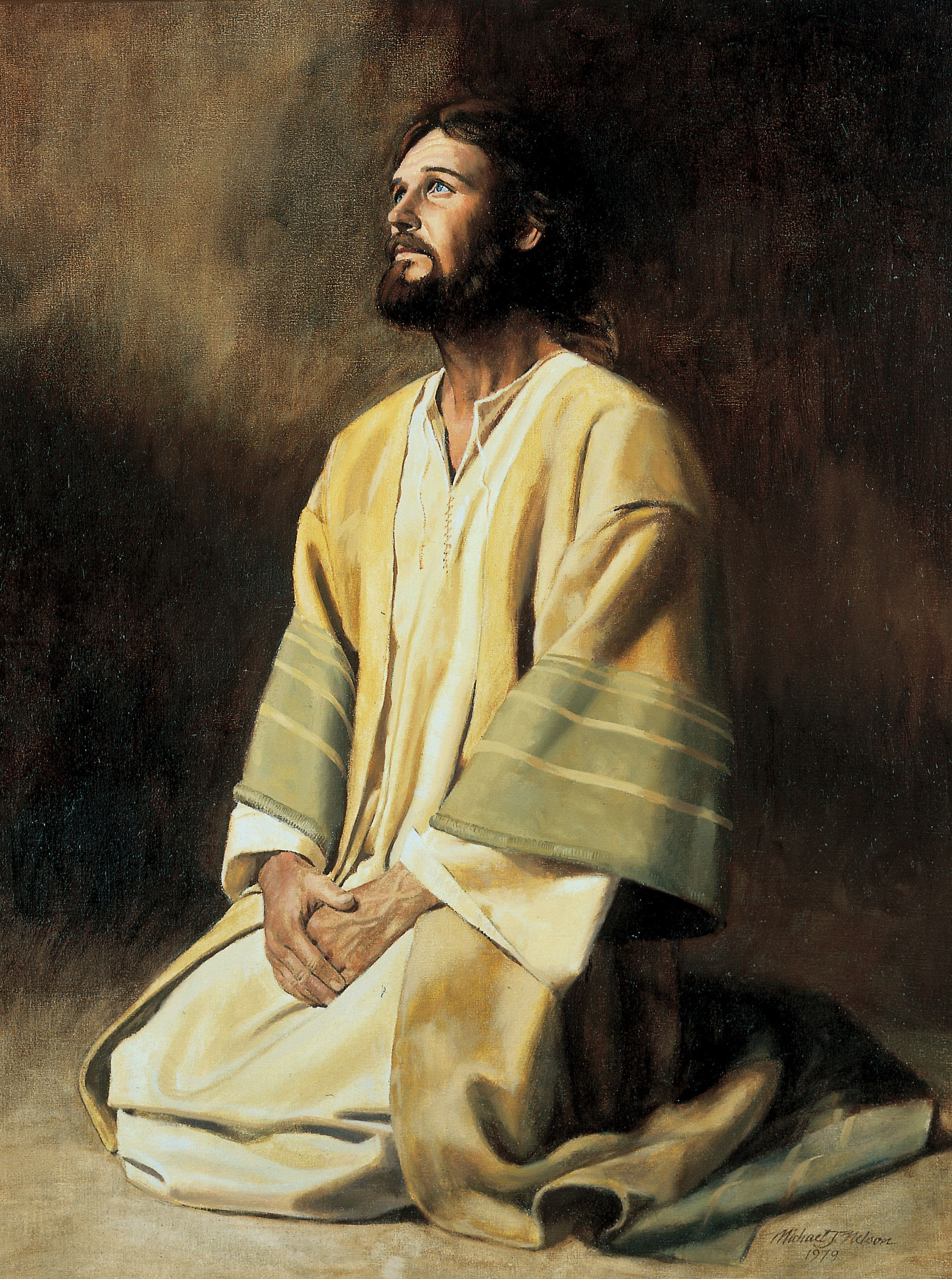 Jesus Kneeling in Prayer and Meditation, by Michael Jarvis Nelson