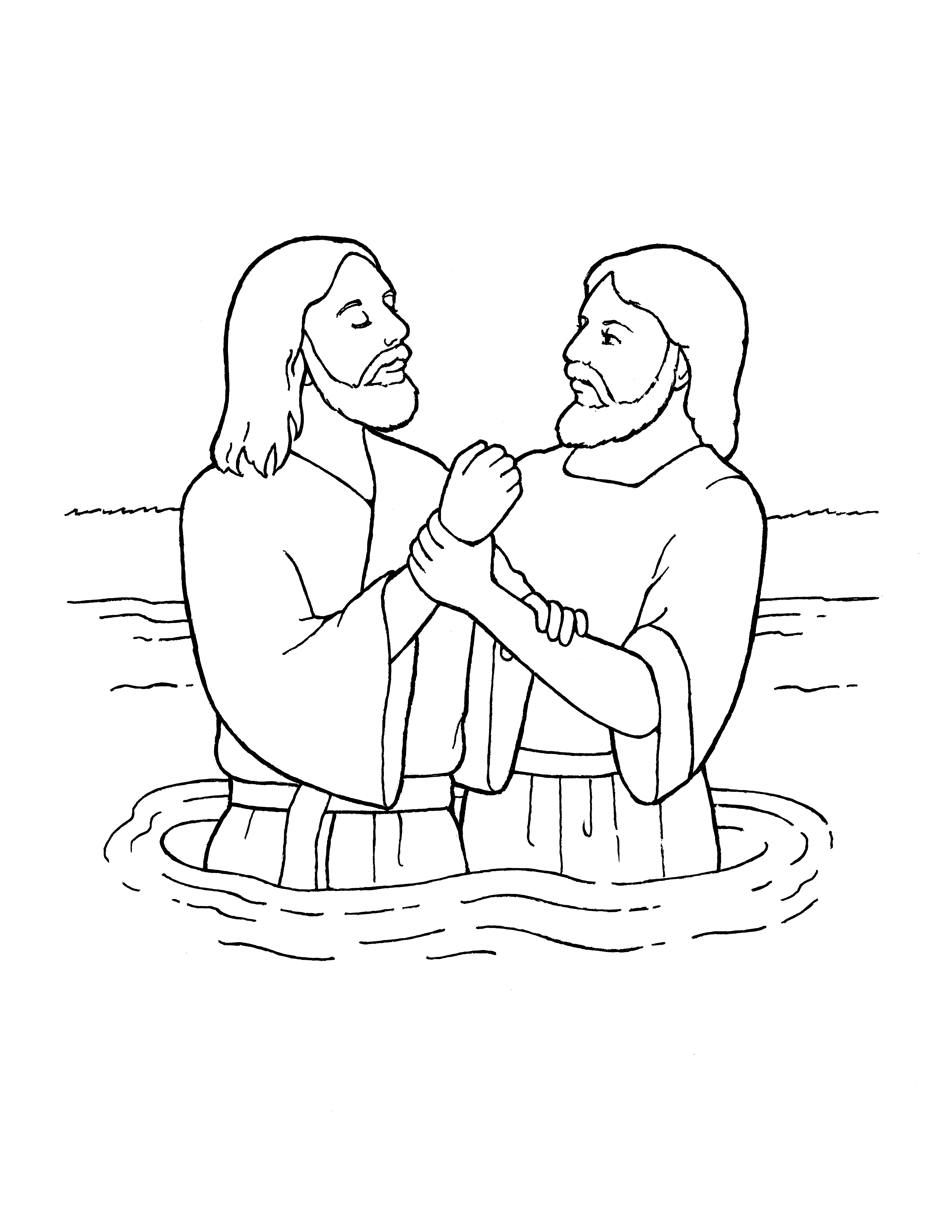 An illustration of John the Baptist baptizing Jesus Christ, from the nursery manual Behold Your Little Ones (2008), page 103.