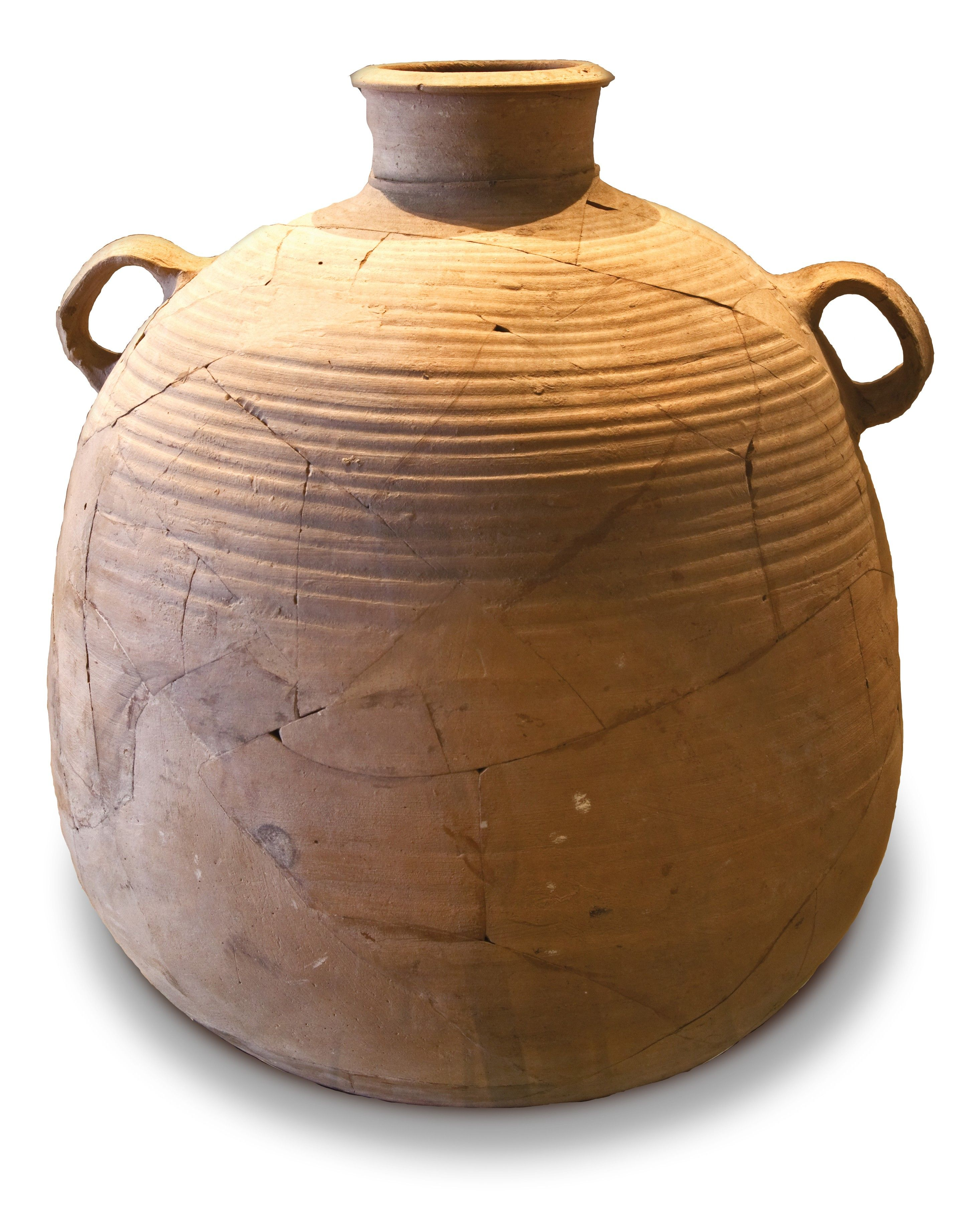 A two-handled clay pot with a narrow opening.