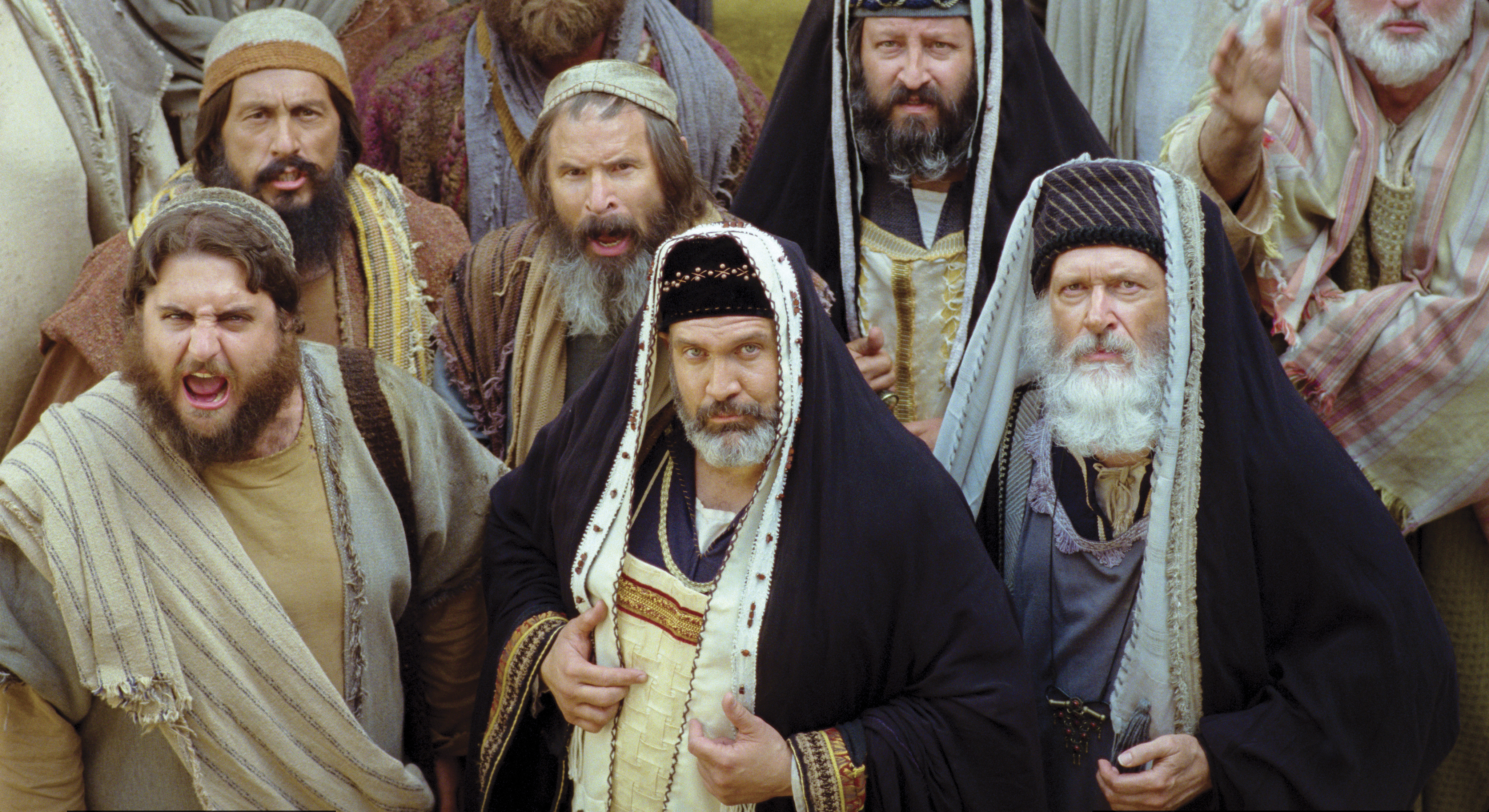 Priests in the congregation condemn Christ before Pilate.