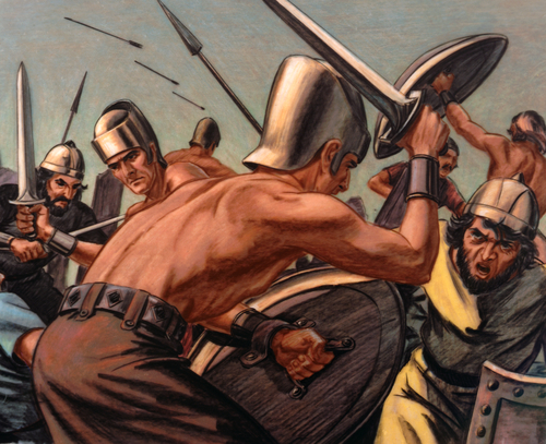 Philistines and Israelites battling