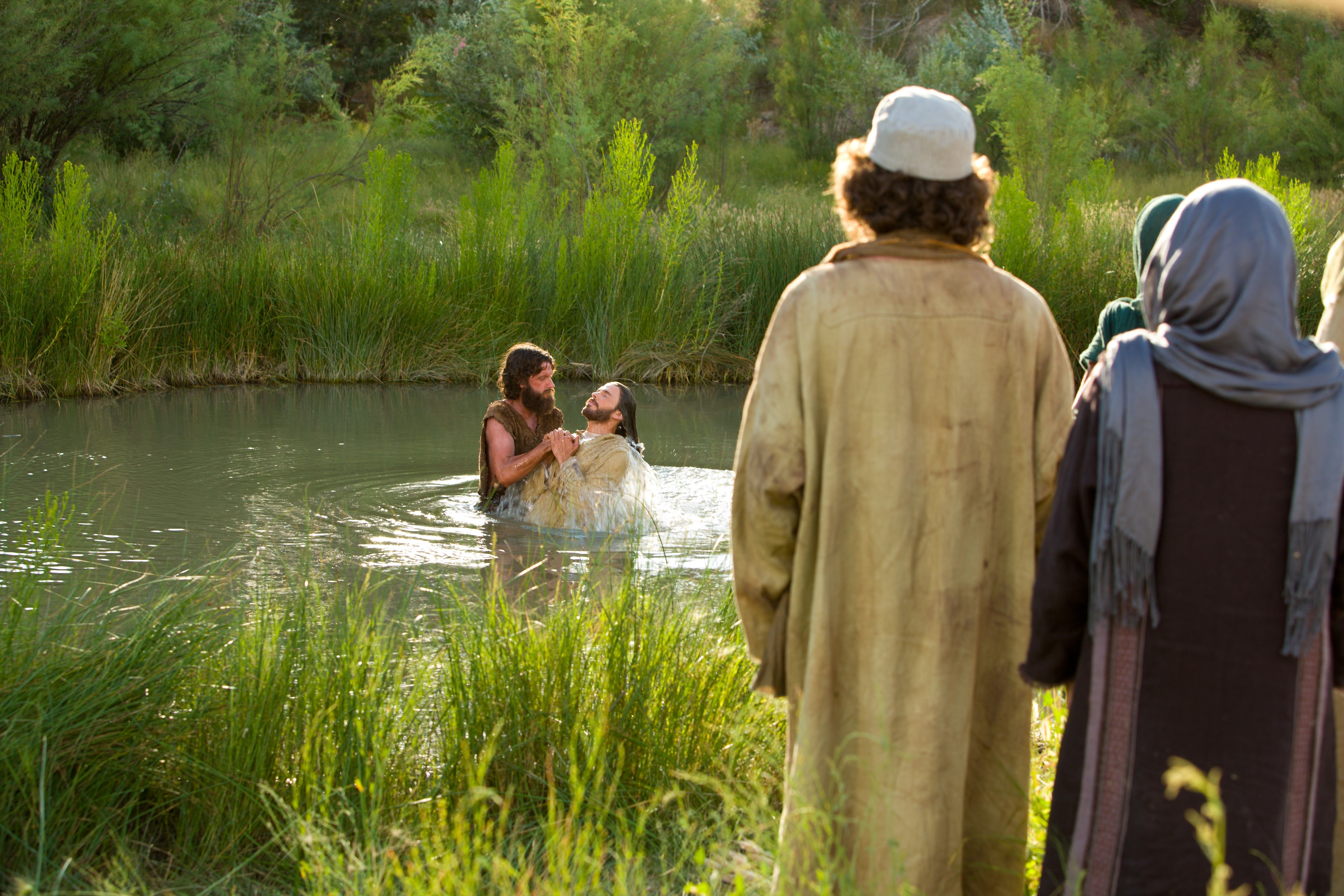 "After being baptized, God says, ""This is my beloved Son, in whom I am well pleased."""