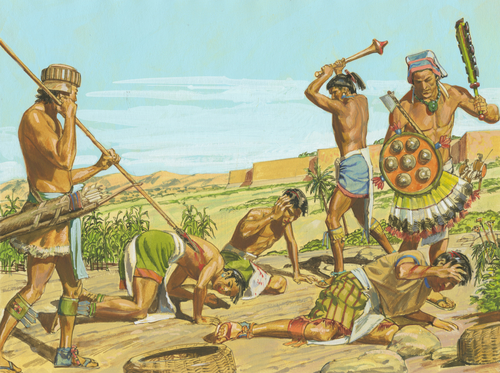 Lamanites killing people of Ammon