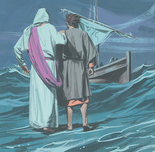 Jesus and Peter walking to boat