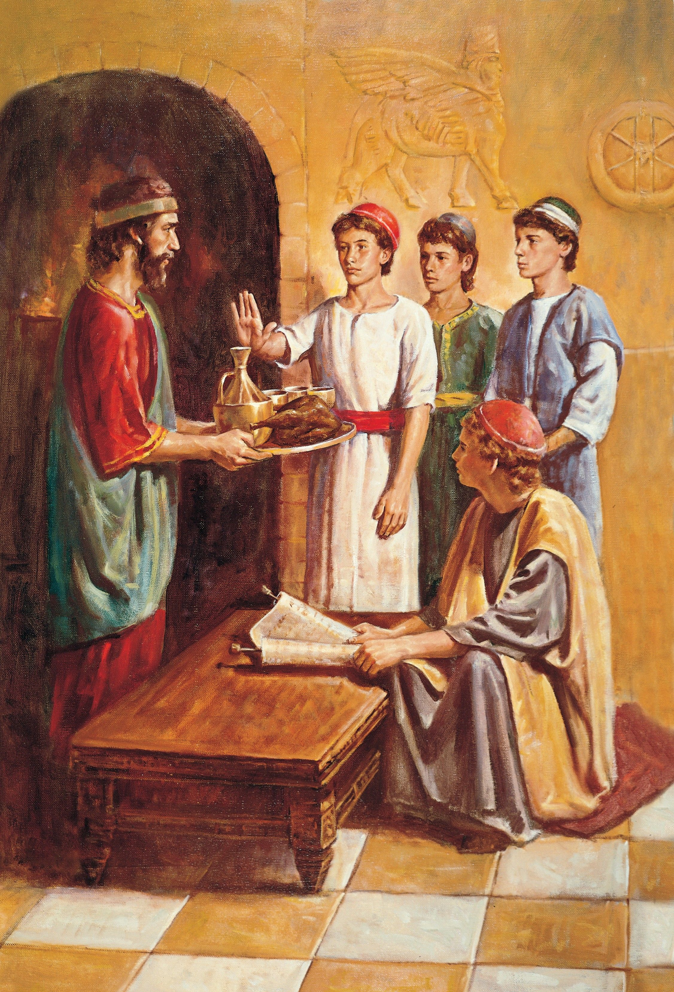 Daniel Refusing the King's Meat and Wine, by Del Parson (62094); GAK 114; GAB 23; Primary manual 1-37; Primary manual 3-29; Primary manual 6-45; Daniel 1
