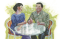 couple sitting together at table