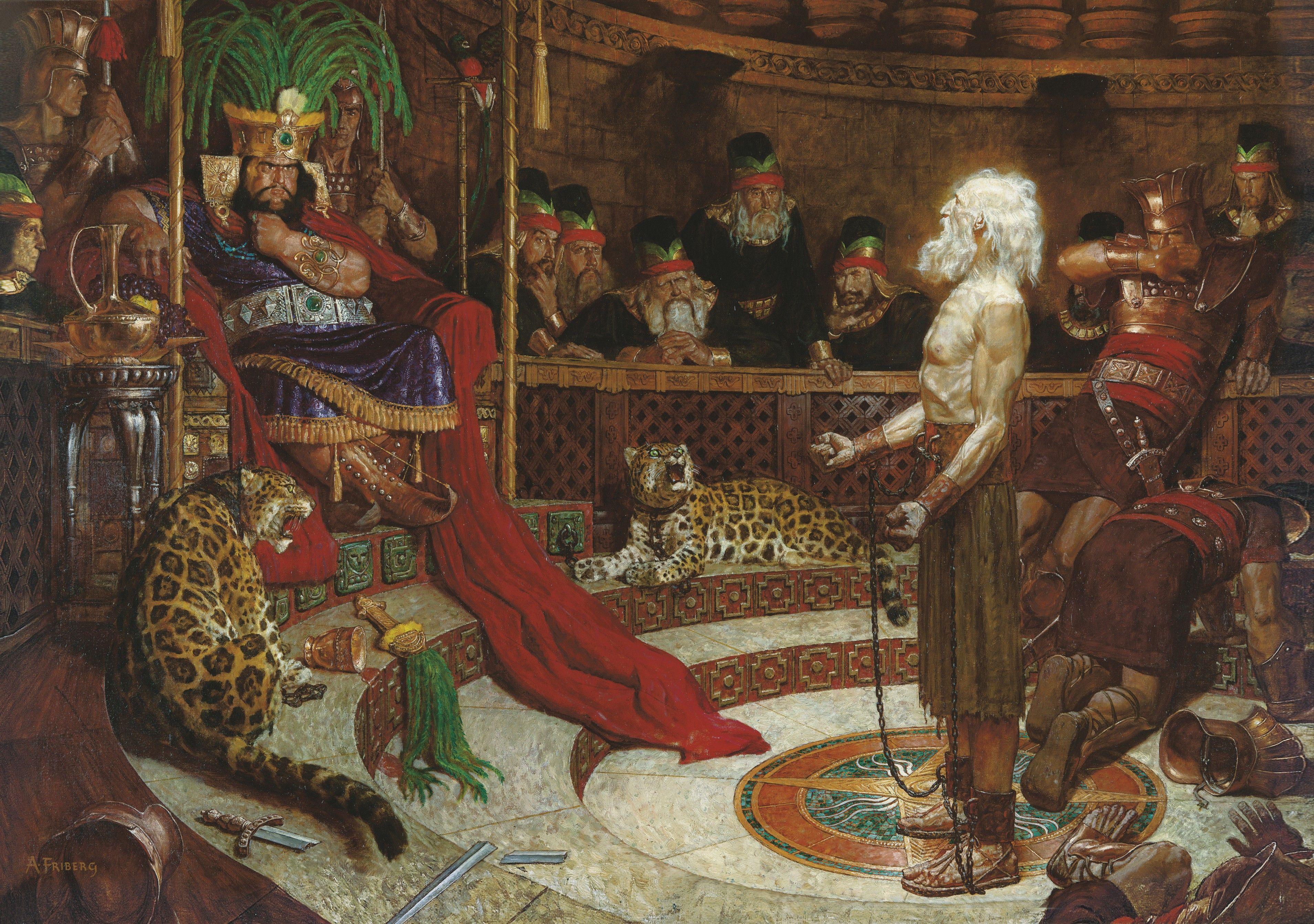 Abinadi before King Noah (Abinadi Appearing before King Noah), by Arnold Friberg (62042); GAK 308; GAB 75; Primary manual 3-47; Primary manual 4-22; Mosiah 11:20–29, 12:17–37; 13–17