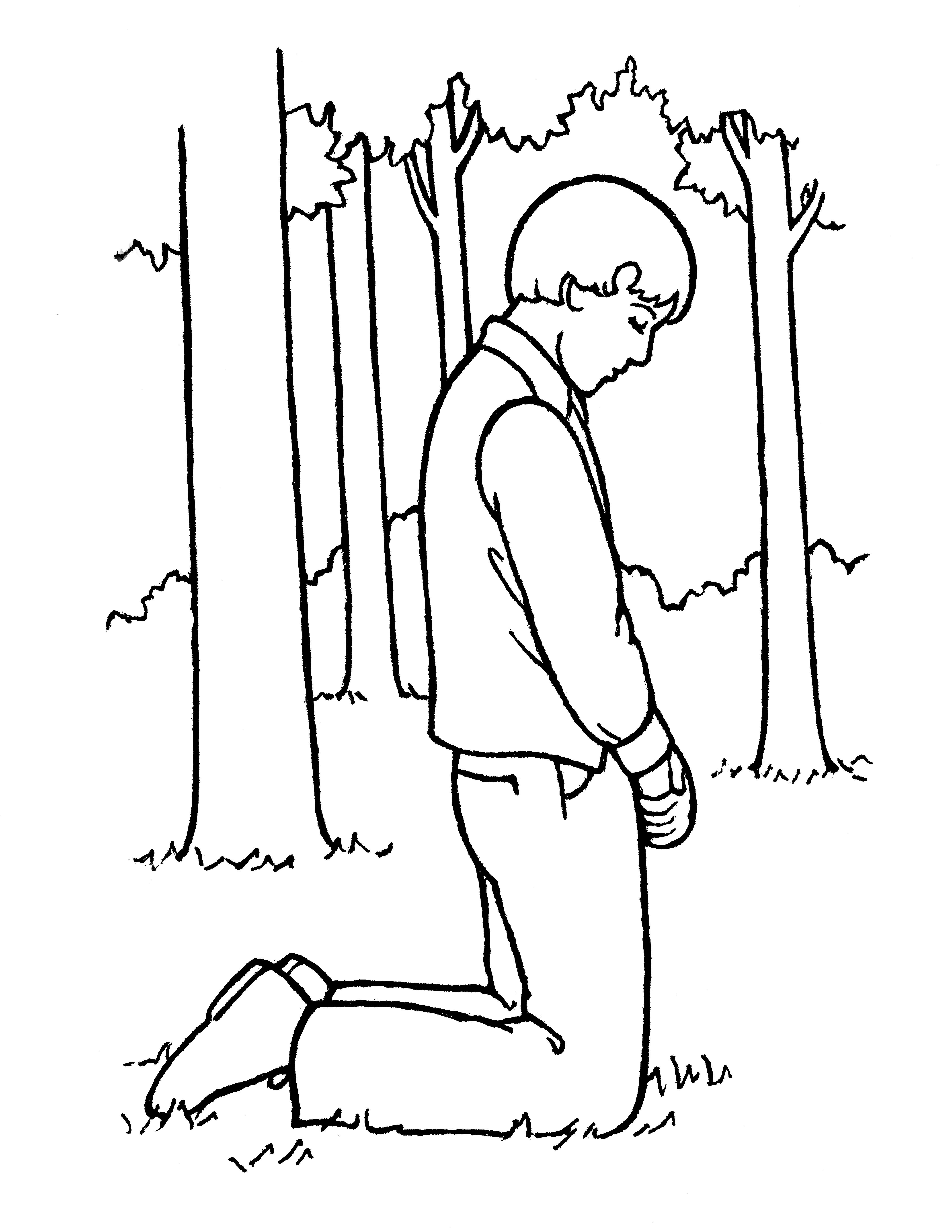 An illustration of Joseph Smith praying in the Sacred Grove prior to the First Vision, from the nursery manual Behold Your Little Ones (2008), page 91.