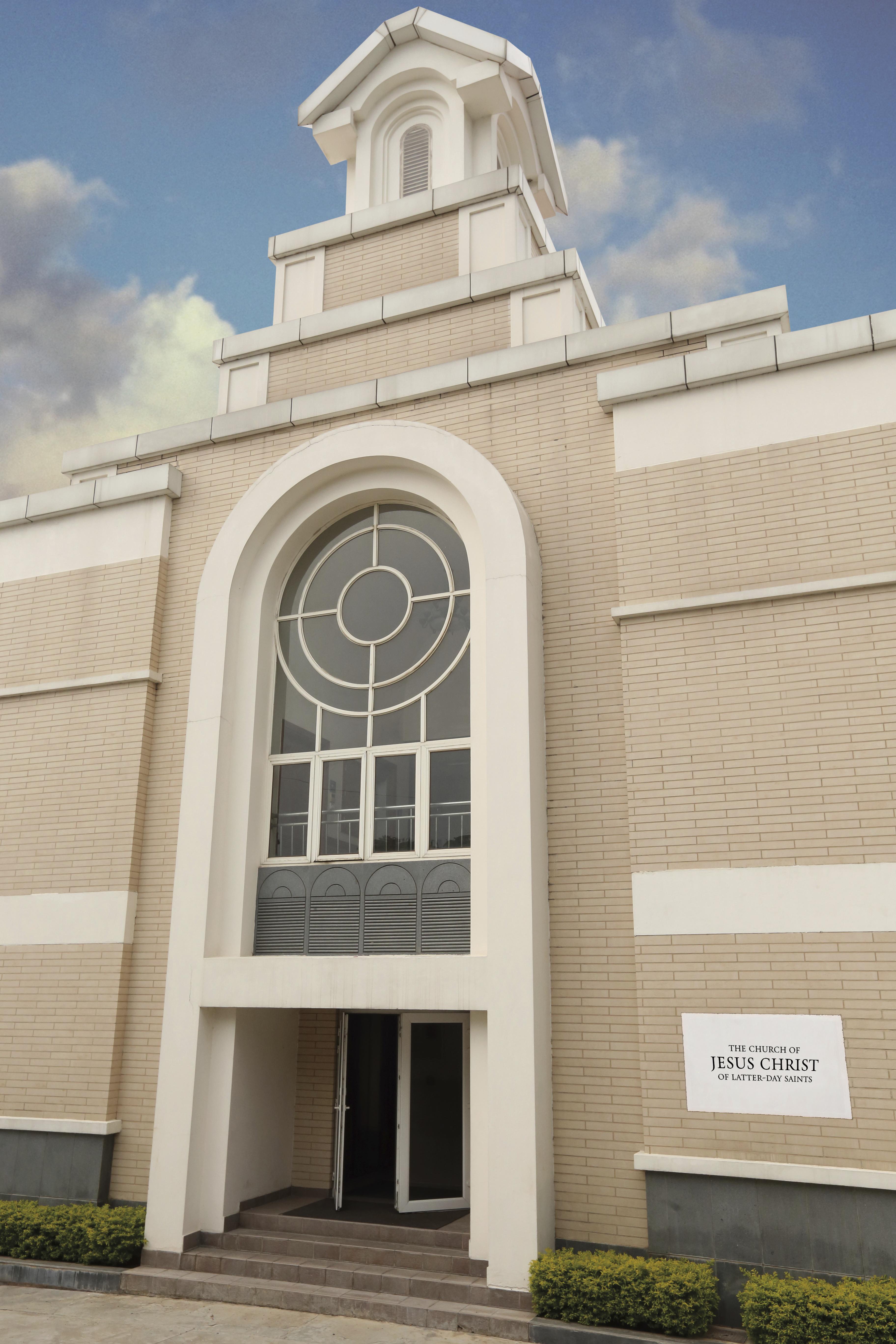 A front view outside a chapel entrance.