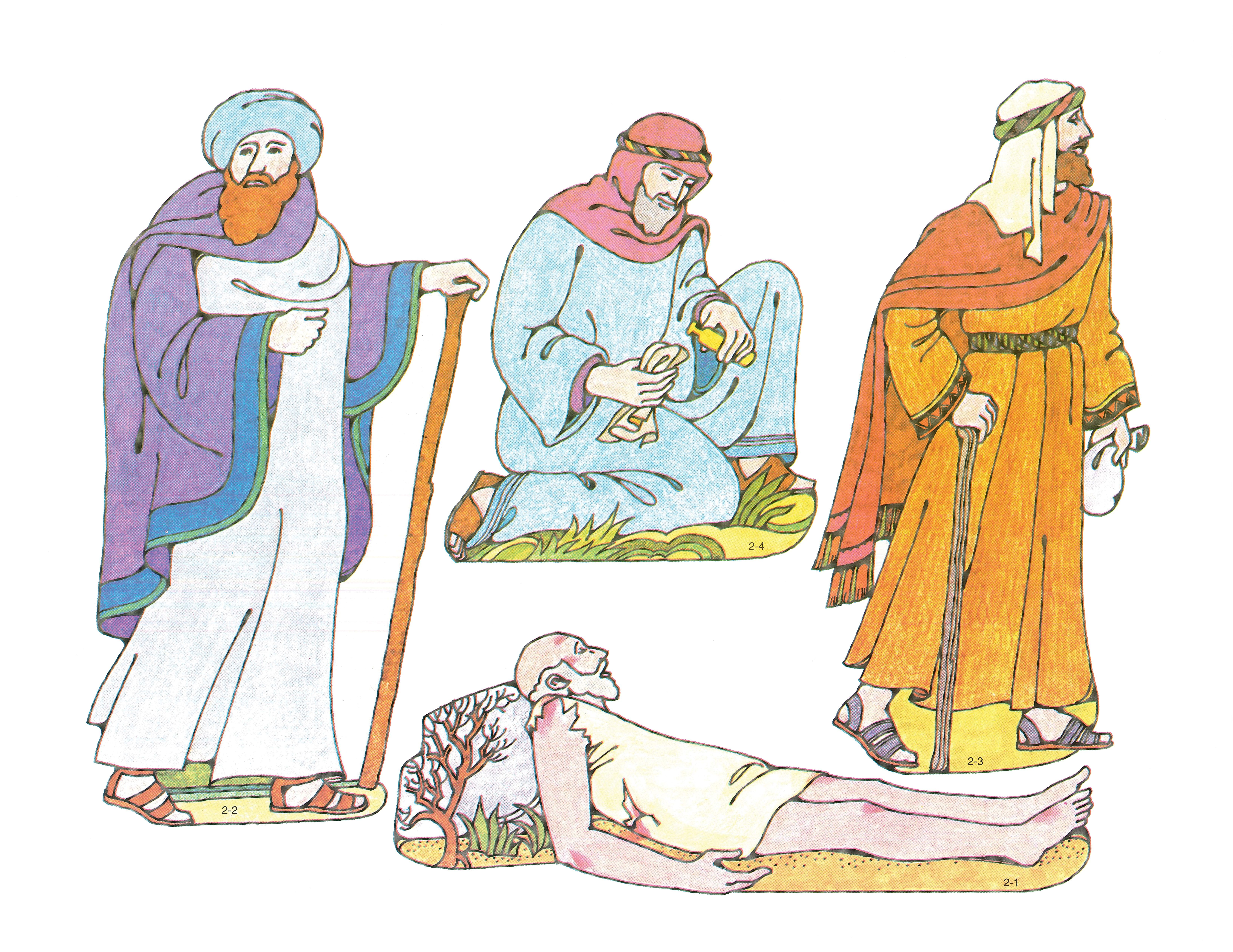 Primary 2: Choose the Right A Cutouts 2-1, Wounded Man; 2-2, Priest; 2-3, Levite; 2-4, Samaritan.