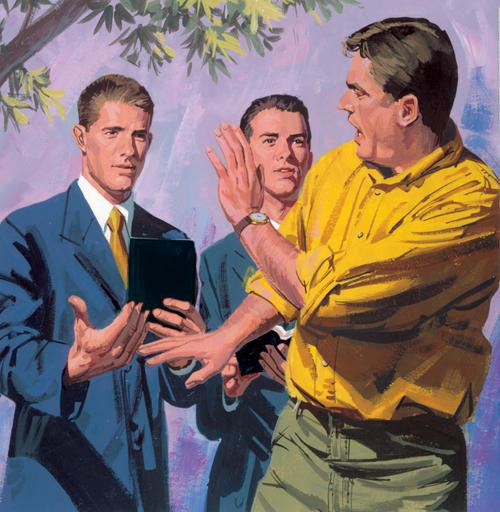 man walking away from missionaries