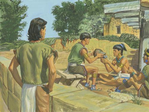 Mormon watching two men