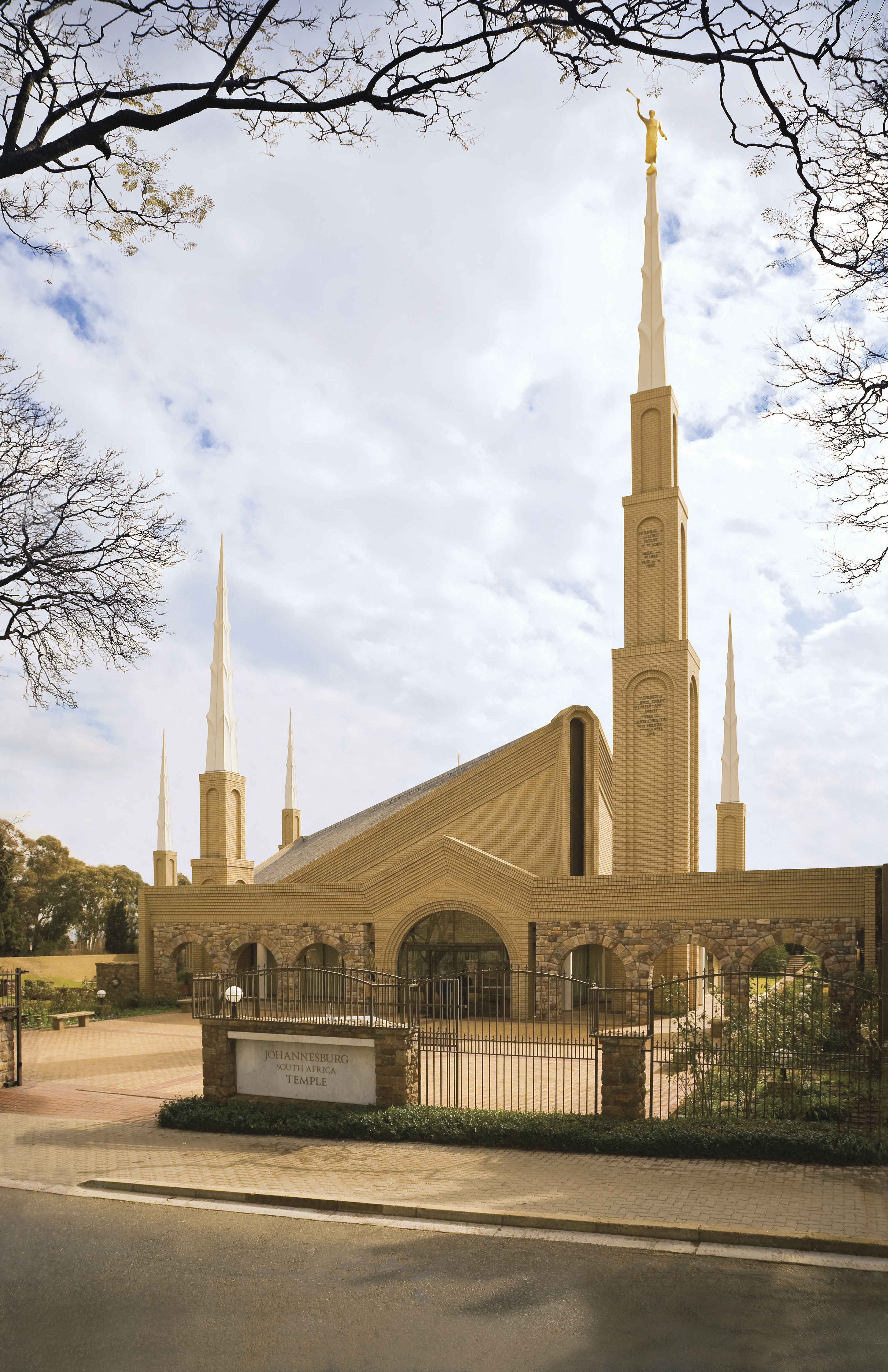 A view of the Johannesburg South Africa Temple, including the name sign, entrance, and landscaping.