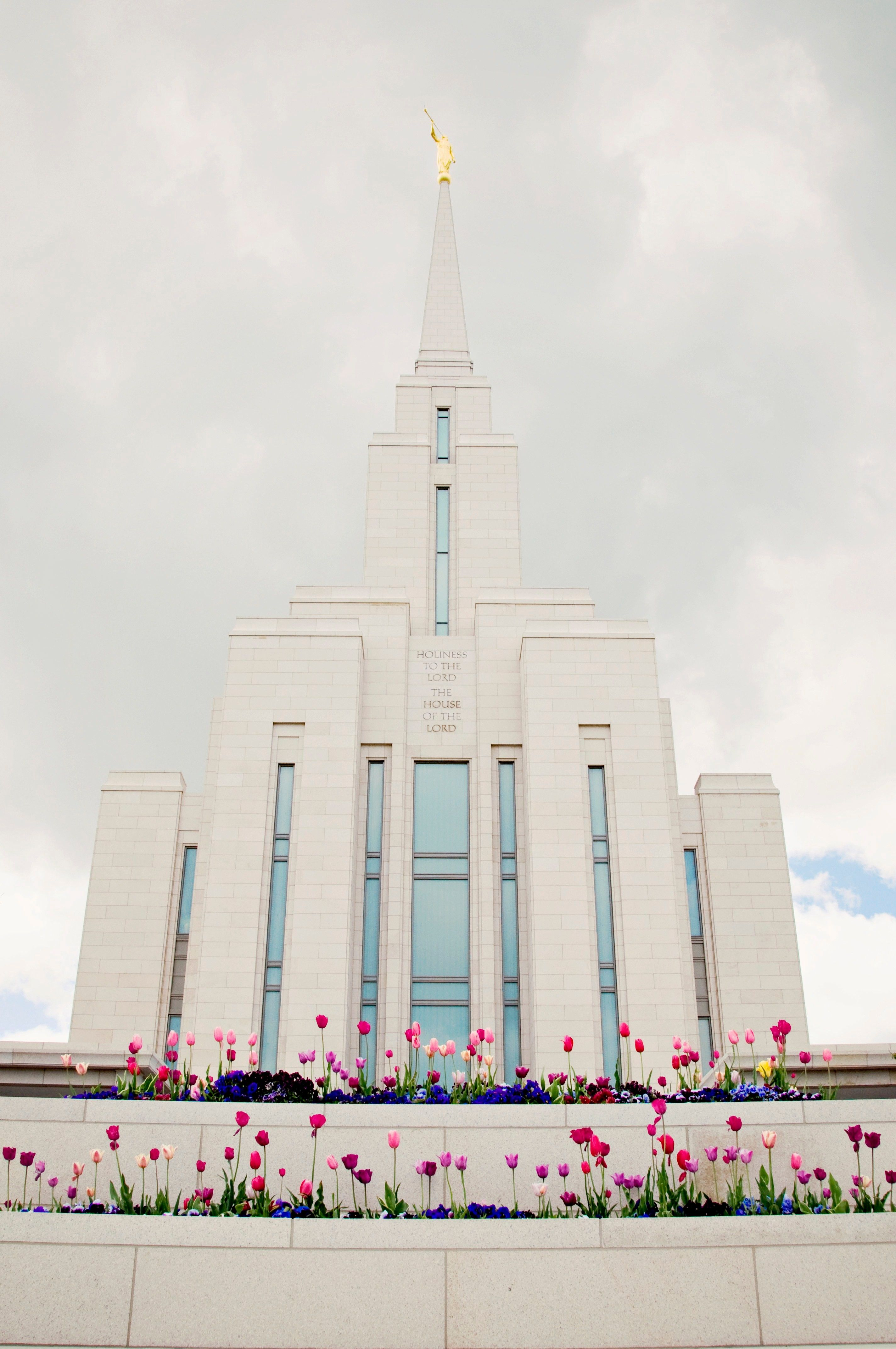 The Oquirrh Mountain Utah Temple in the spring, including scenery.