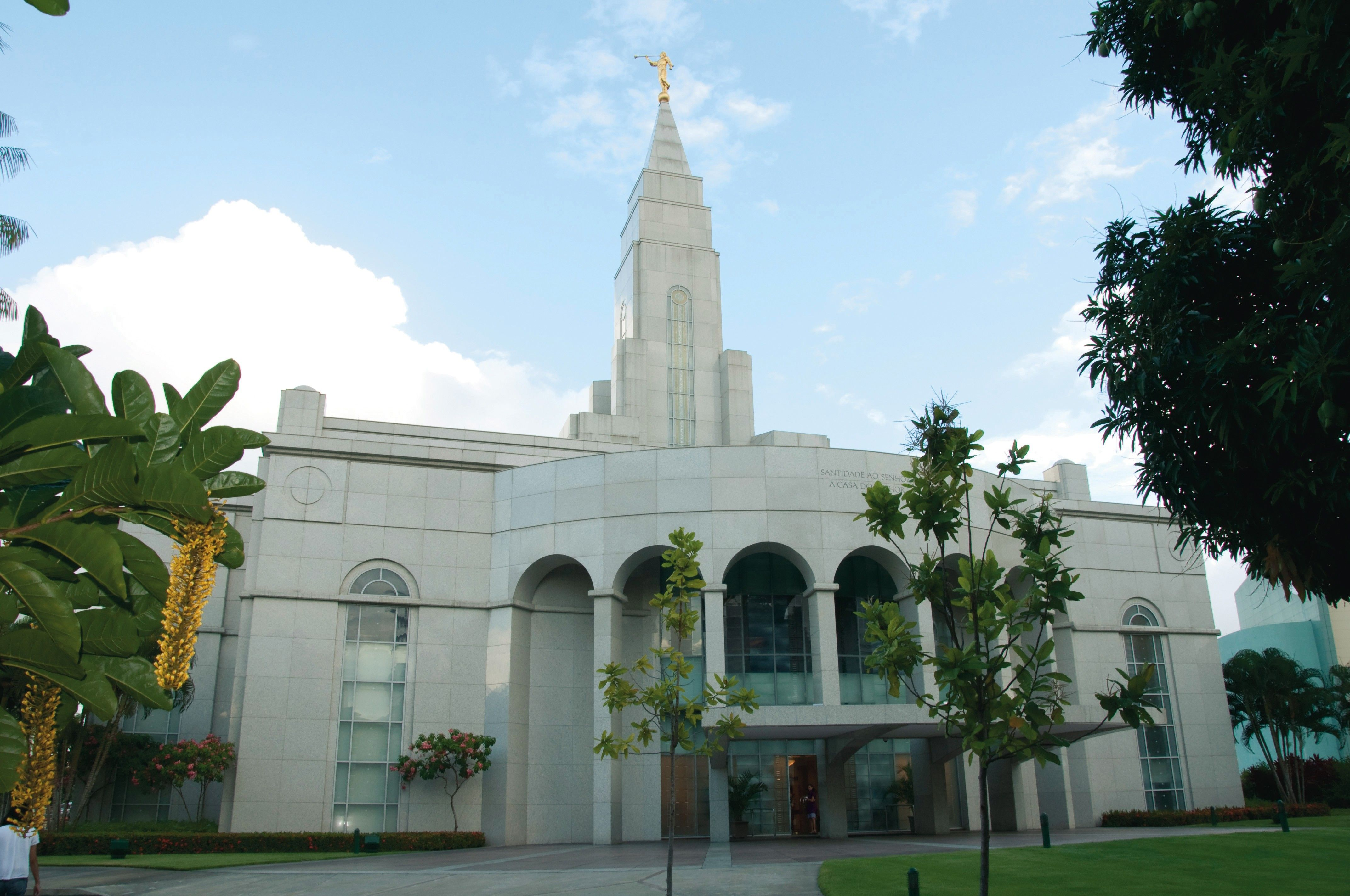 The entire Recife Brazil Temple, including the entrance and scenery.