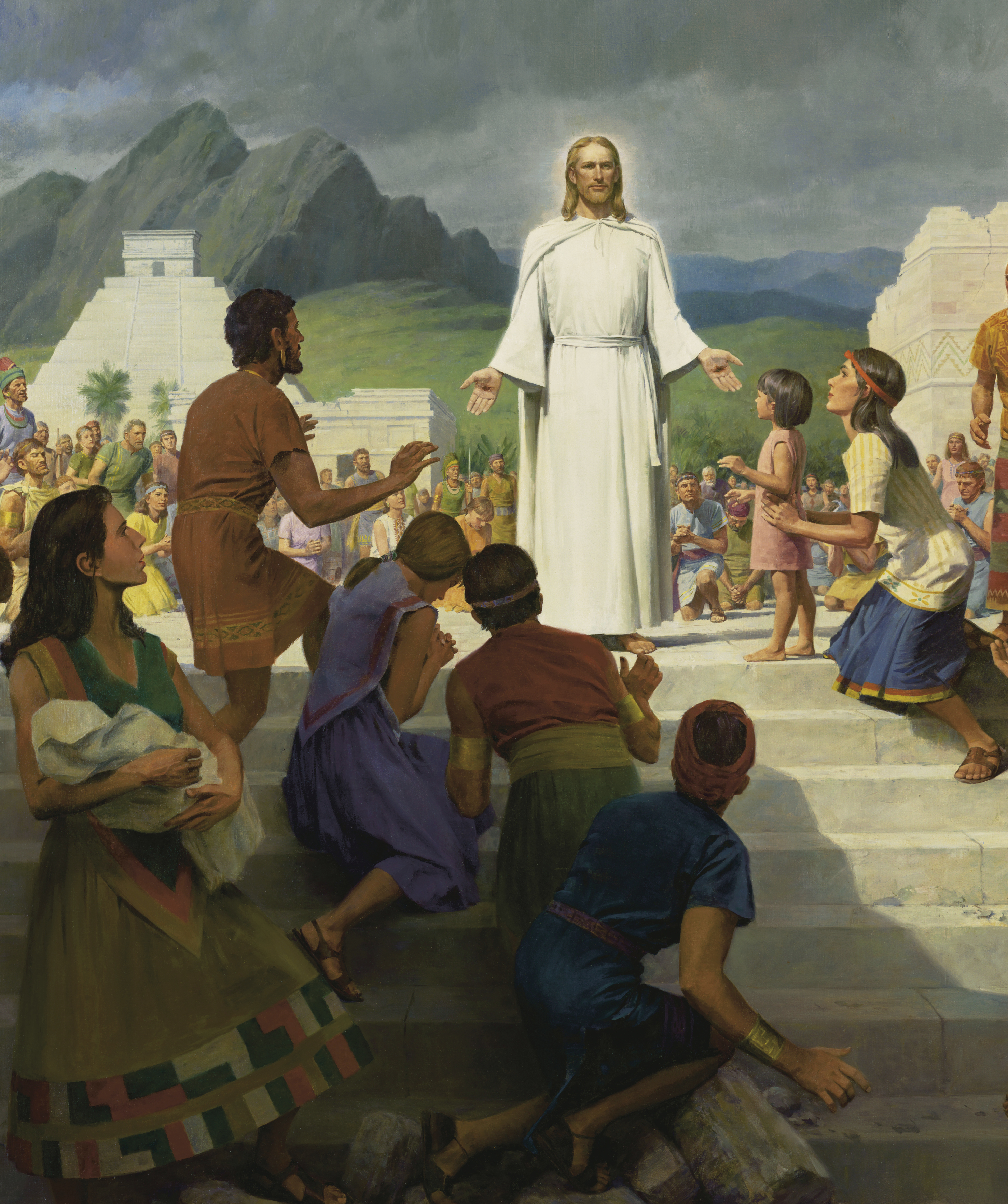 A detail from Jesus Christ Visits the Americas, by John Scott