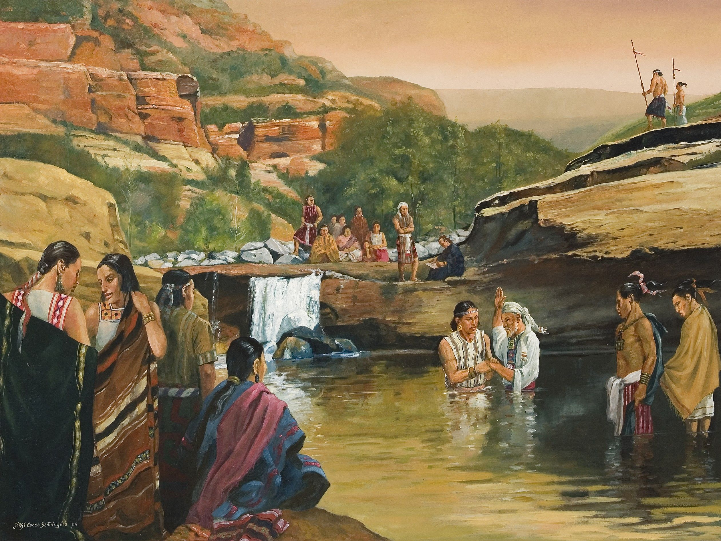 An oil painting by Jorge Cocco depicting Alma baptizing converts at the Waters of Mormon.