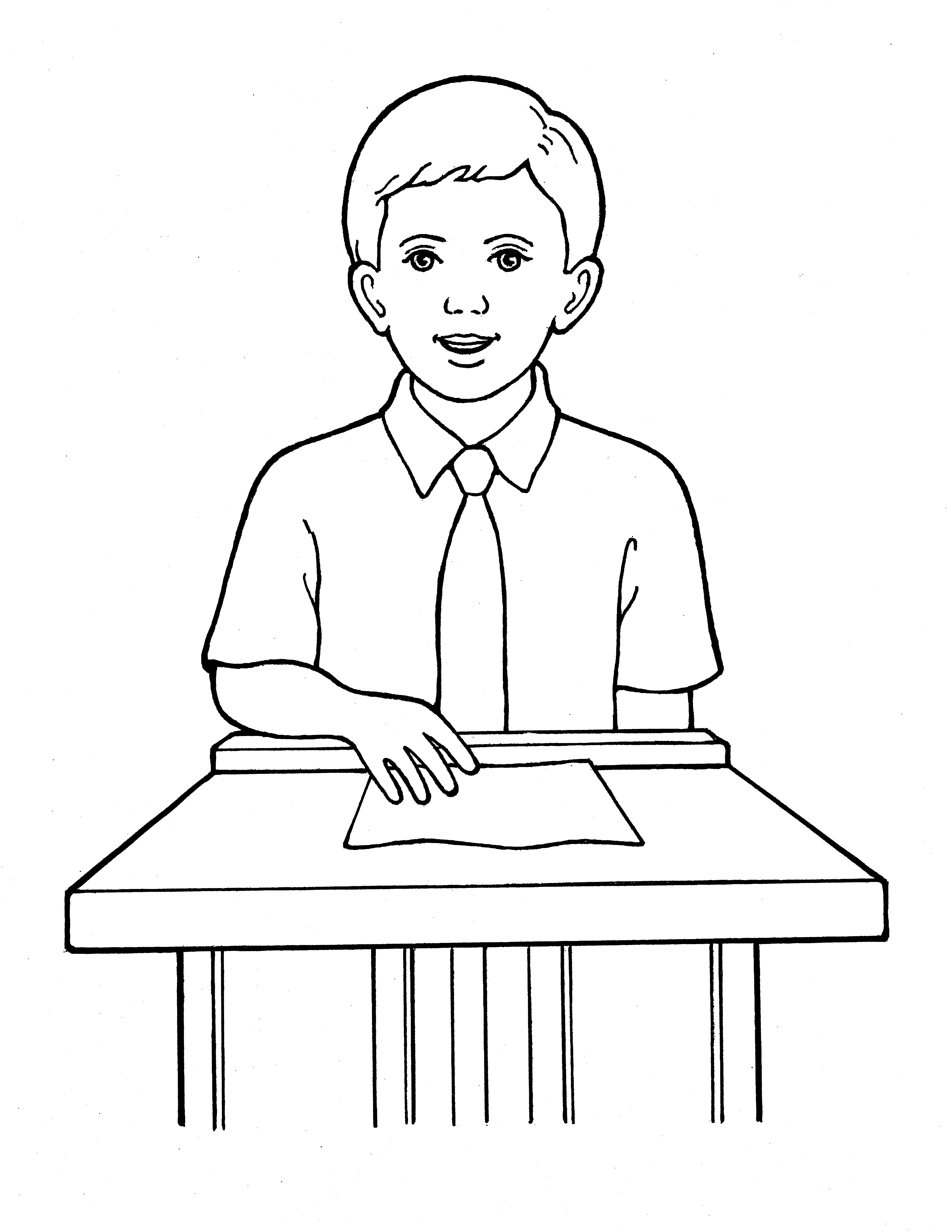 An illustration of a Primary boy standing at a podium to give a talk.