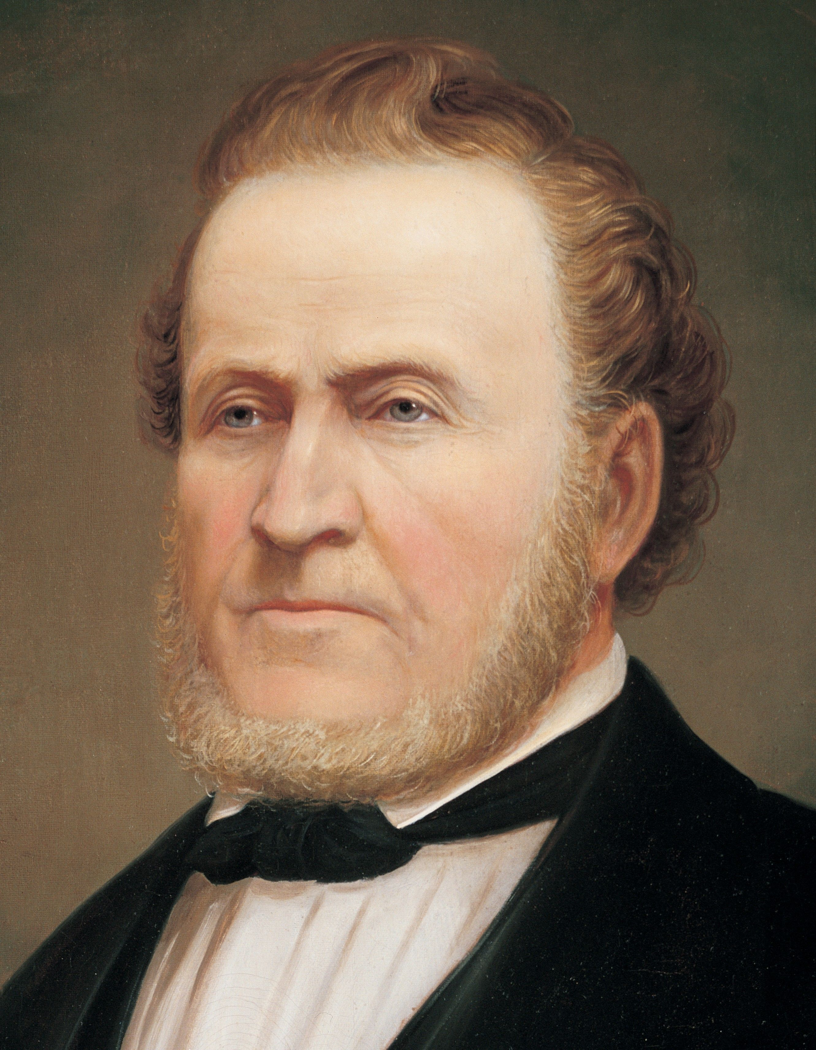 A portrait of Brigham Young, who served as the second President of the Church from 1847 to 1877; painted by George Martin Ottinger.