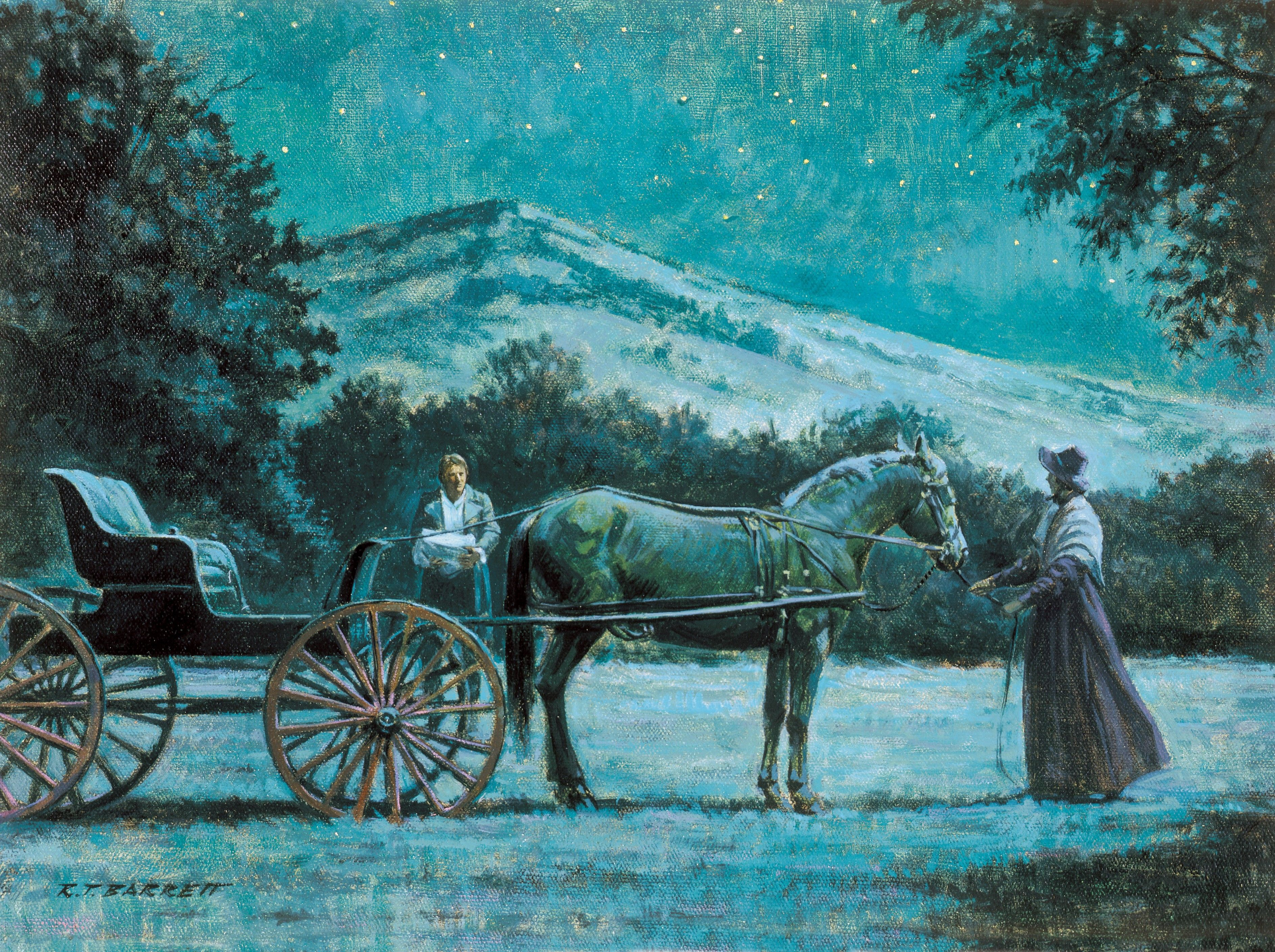 Joseph and Emma at the Hill Cumorah (Joseph Smith Brings the Gold Plates to the Carriage), by Robert T. Barrett; Primary manual 5-12