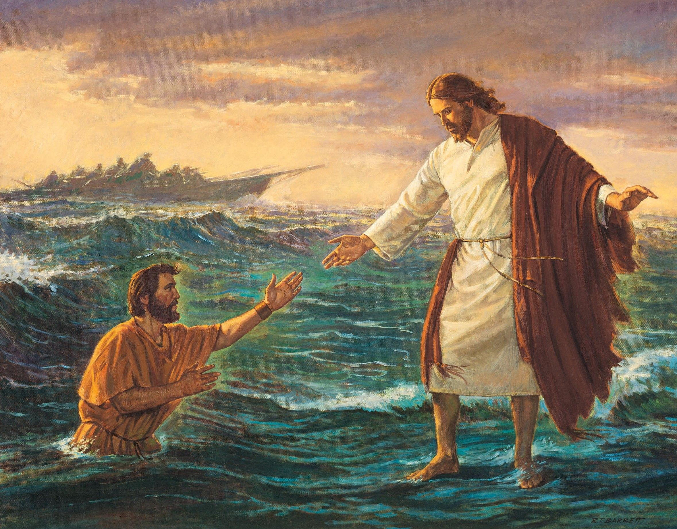 Christ Walking on the Water, by Robert T. Barrett; GAK 243; Primary manual 7-17; Matthew 14:22–33; Mark 6:45-51