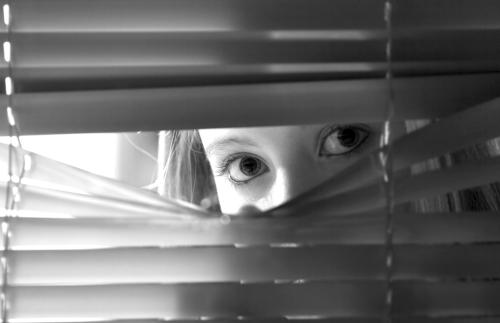 Looking through venetian blinds
