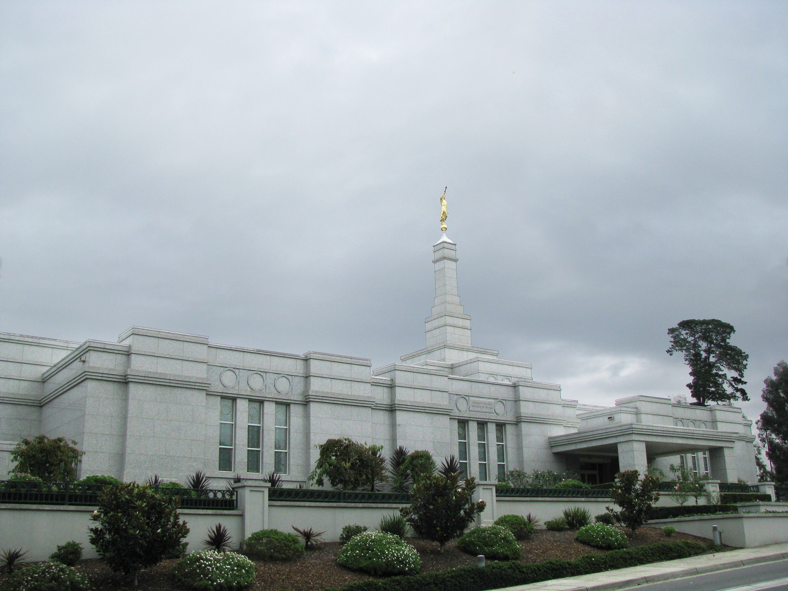 The Melbourne Australia Temple on a cloudy day.