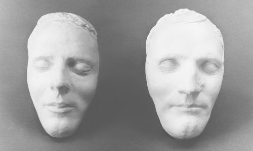 Death masks of Joseph and Hyrum Smith.