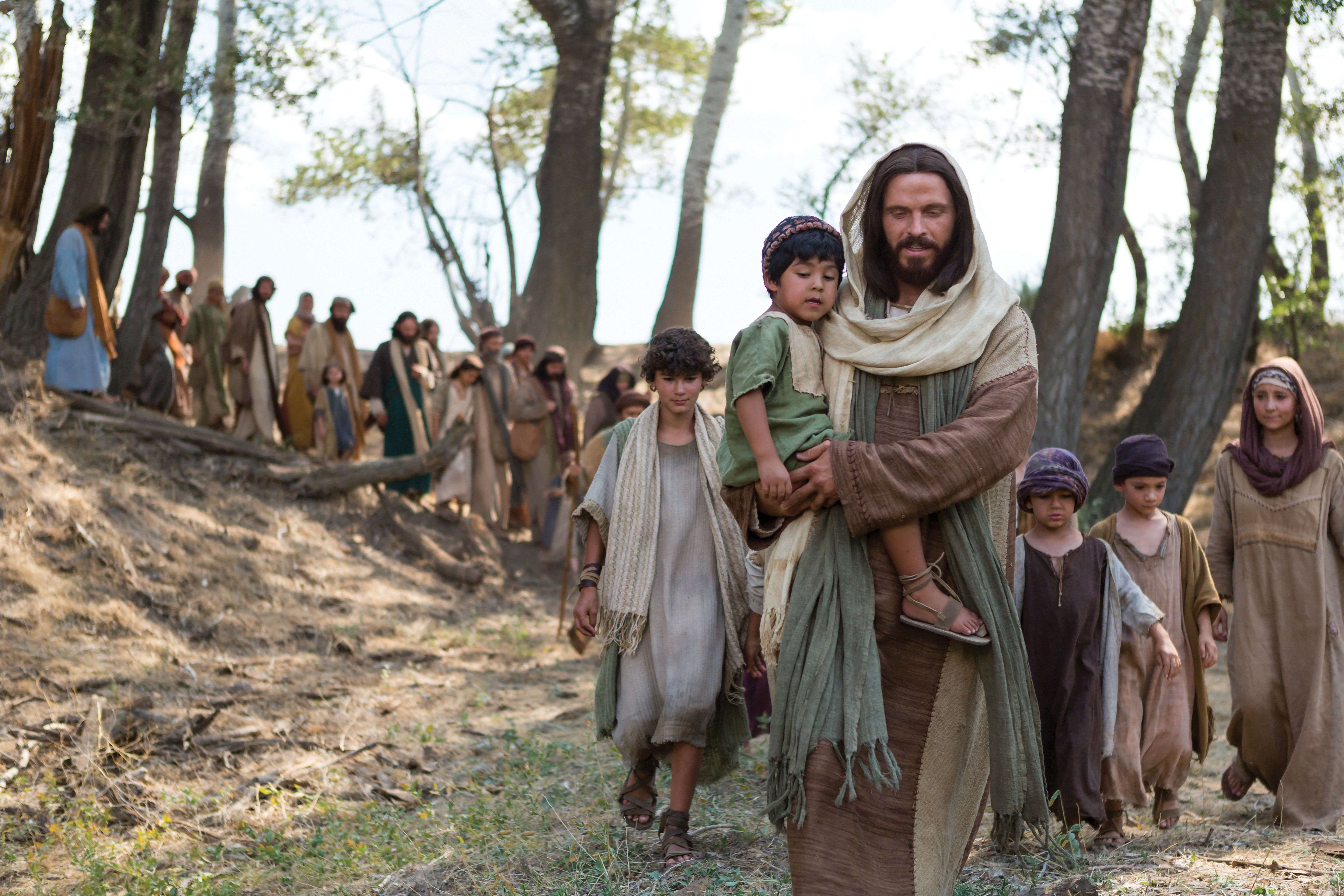 "Christ leading a group of children and their parents after telling His Apostles, ""Suffer little children to come unto me."""
