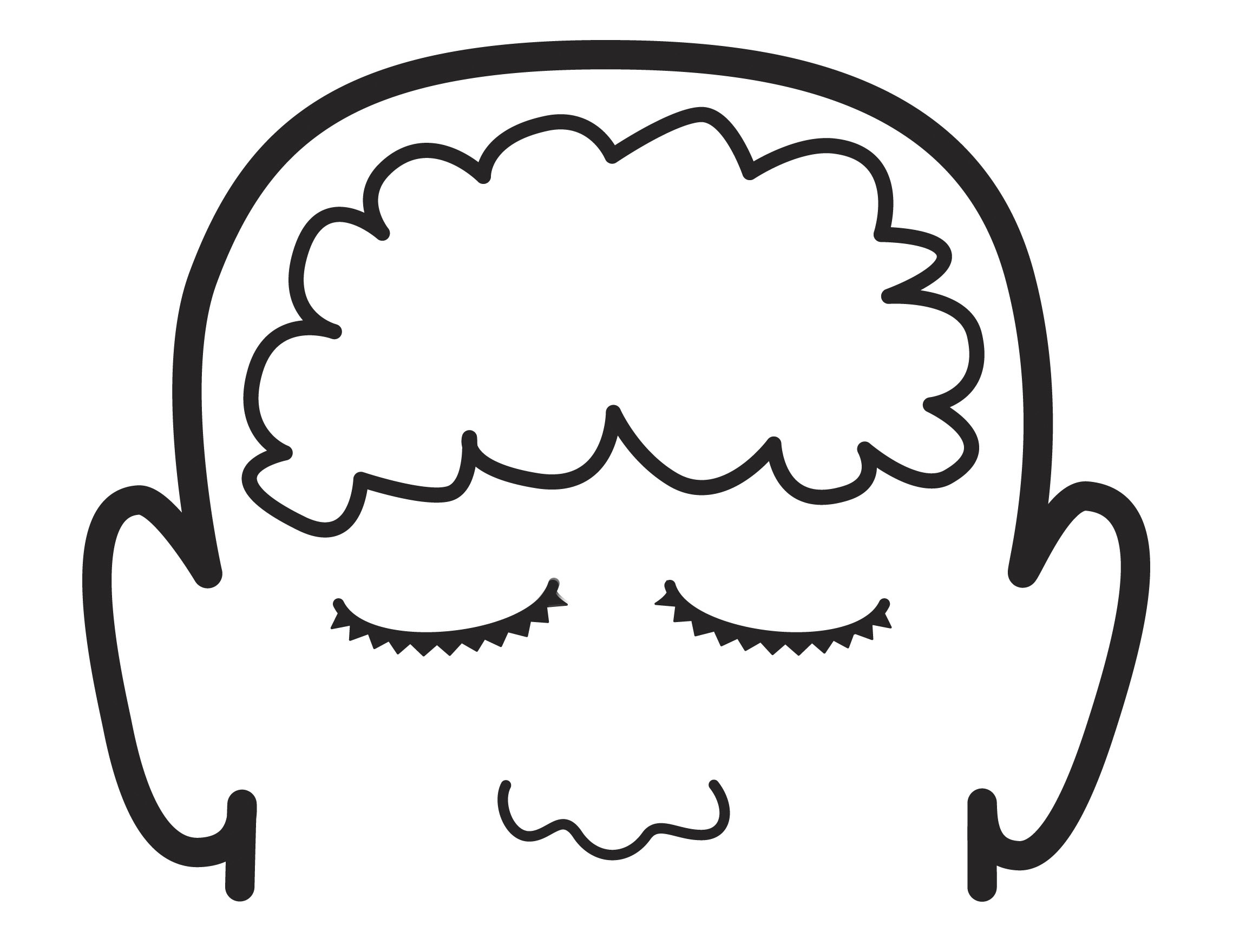An illustration of a face with an outline of the brain in the head.