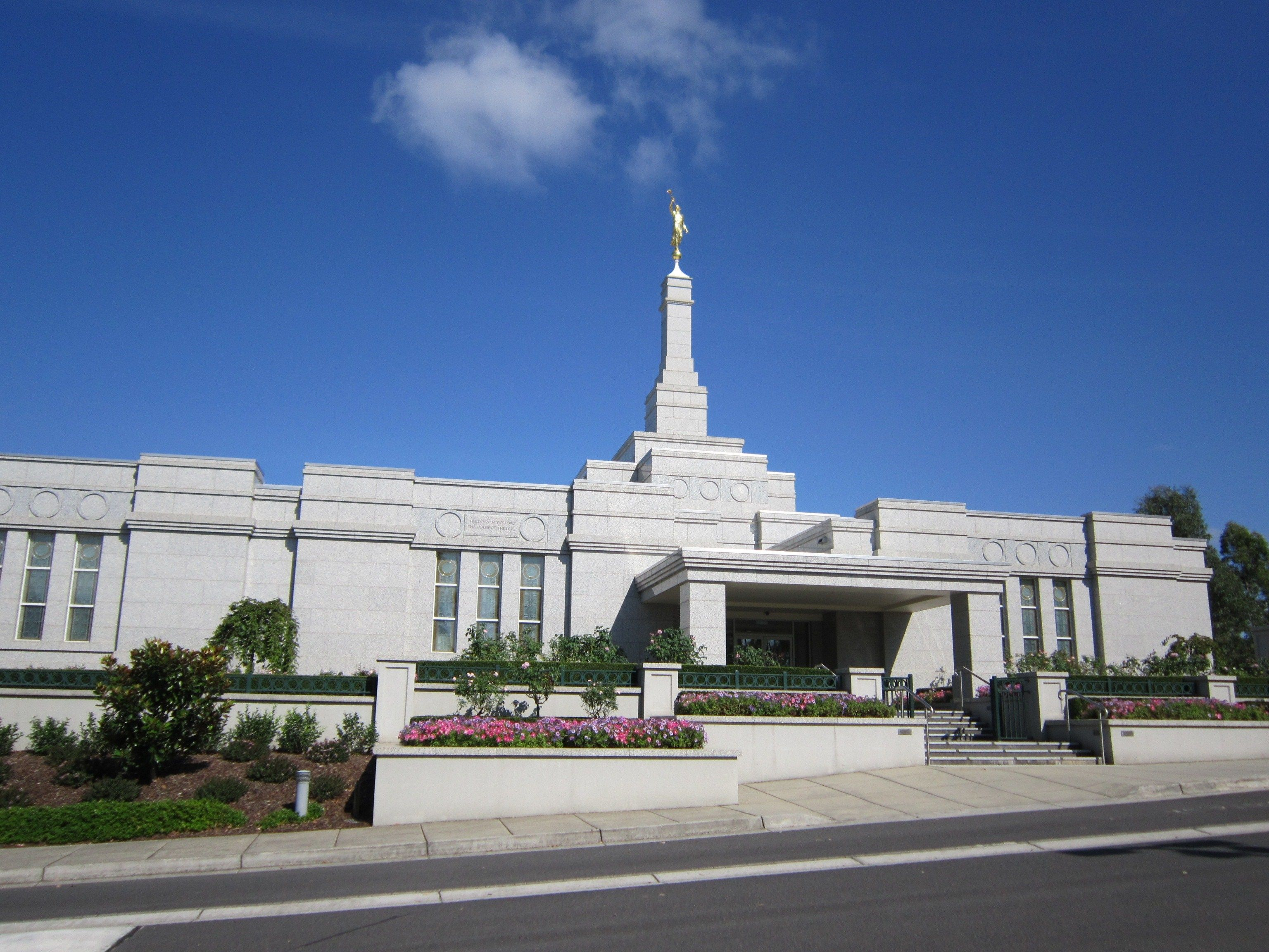 The Melbourne Australia Temple entrance, including scenery.