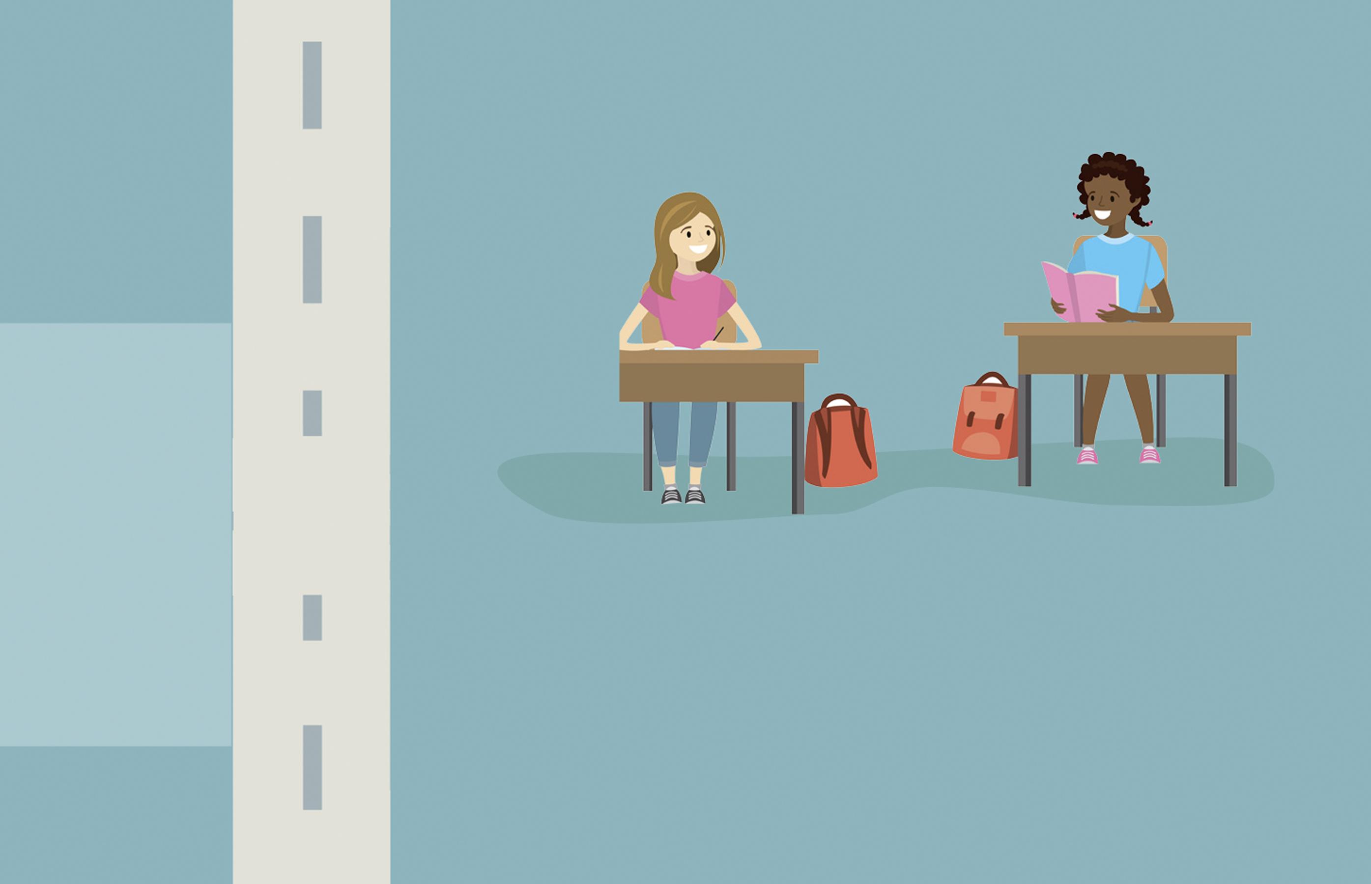 schoolgirls sitting at desks