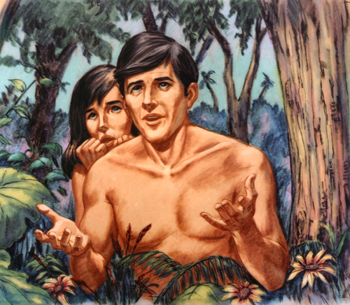 Adam and Eve talking with God