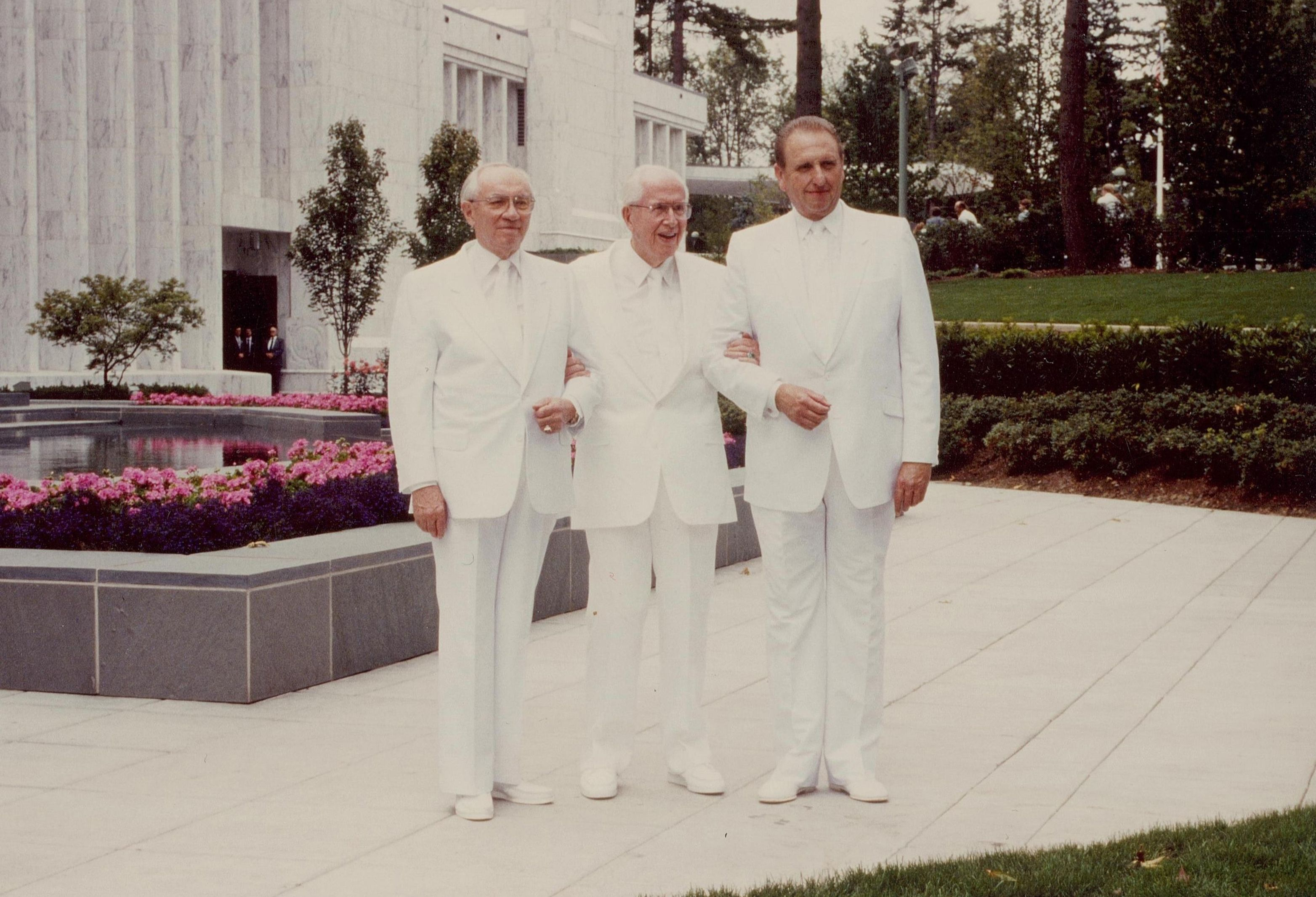 President Benson standing with his counselors at the Portland Oregon Temple dedication.