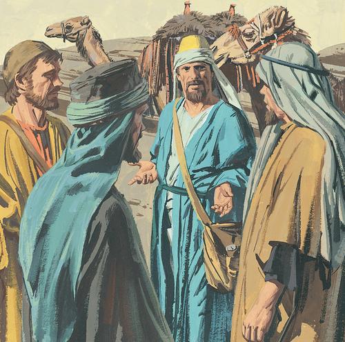 man talking to three servants