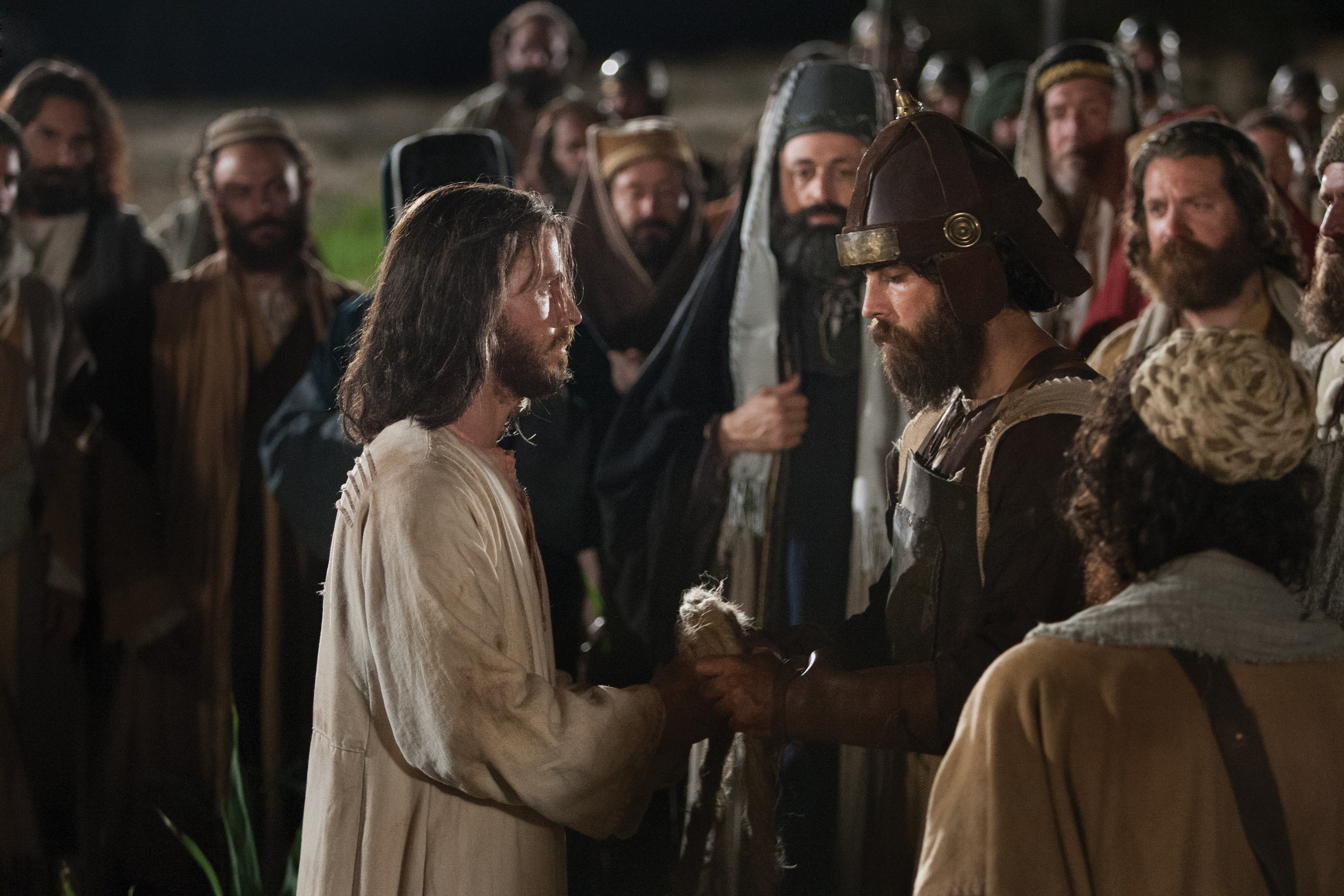 Matthew 26:36–56, Christ arrested by a group of soldiers