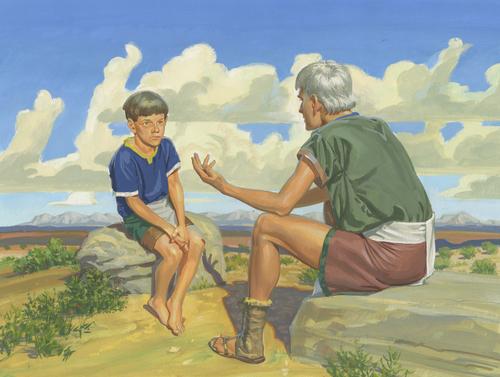 Ammaron talking to young Mormon