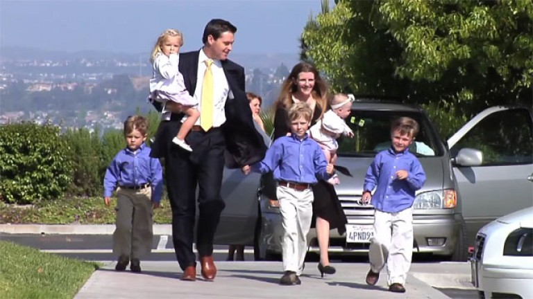 Family walking to church together