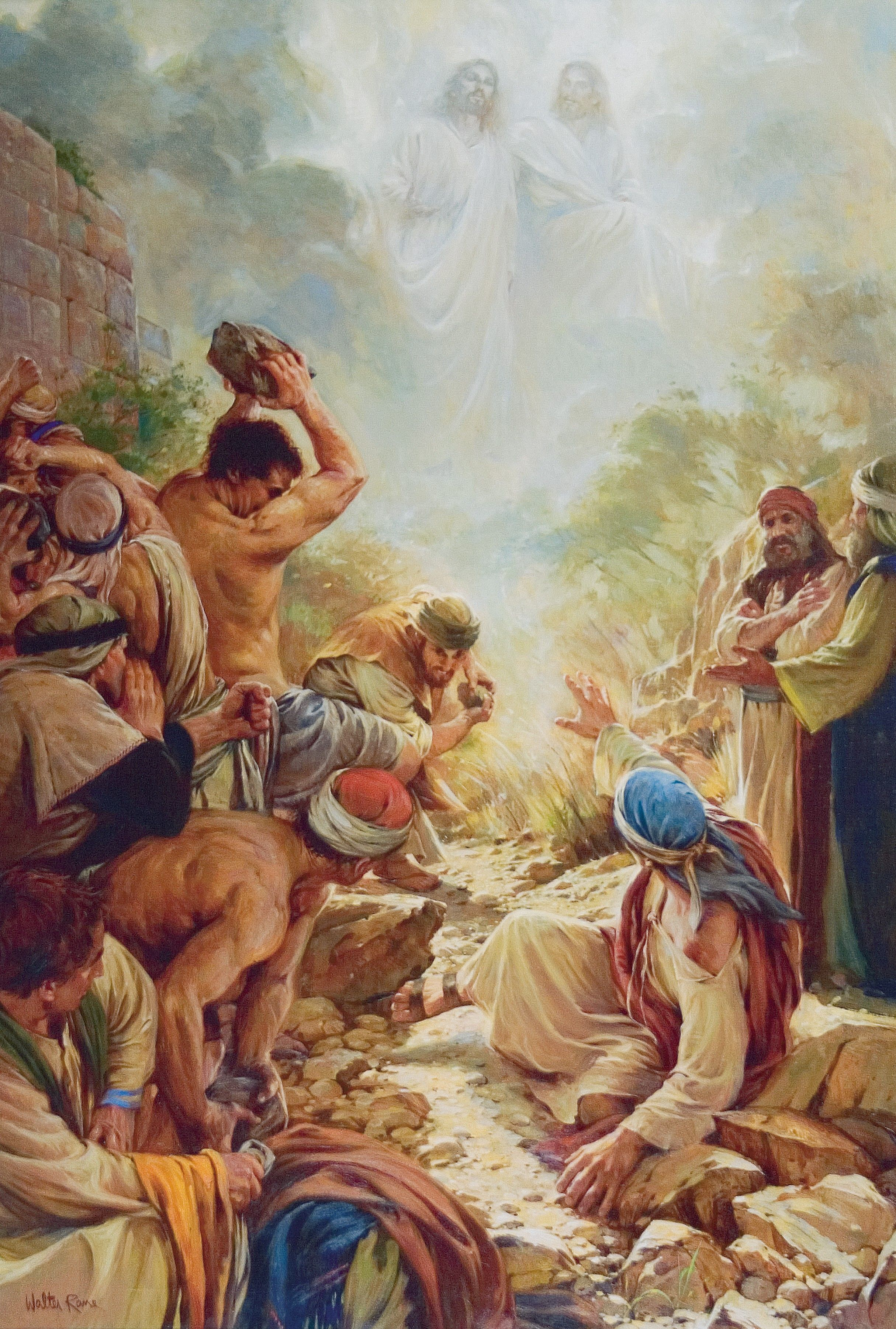 A painting by Walter Rane showing Stephen being stoned by an angry mob, with a vision of God the Father and Jesus Christ in the heavens.